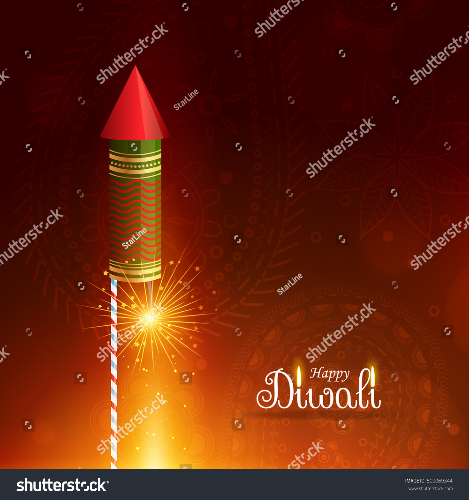 Happy Diwali Greeting Background Flying Rocket Stock Vector Royalty