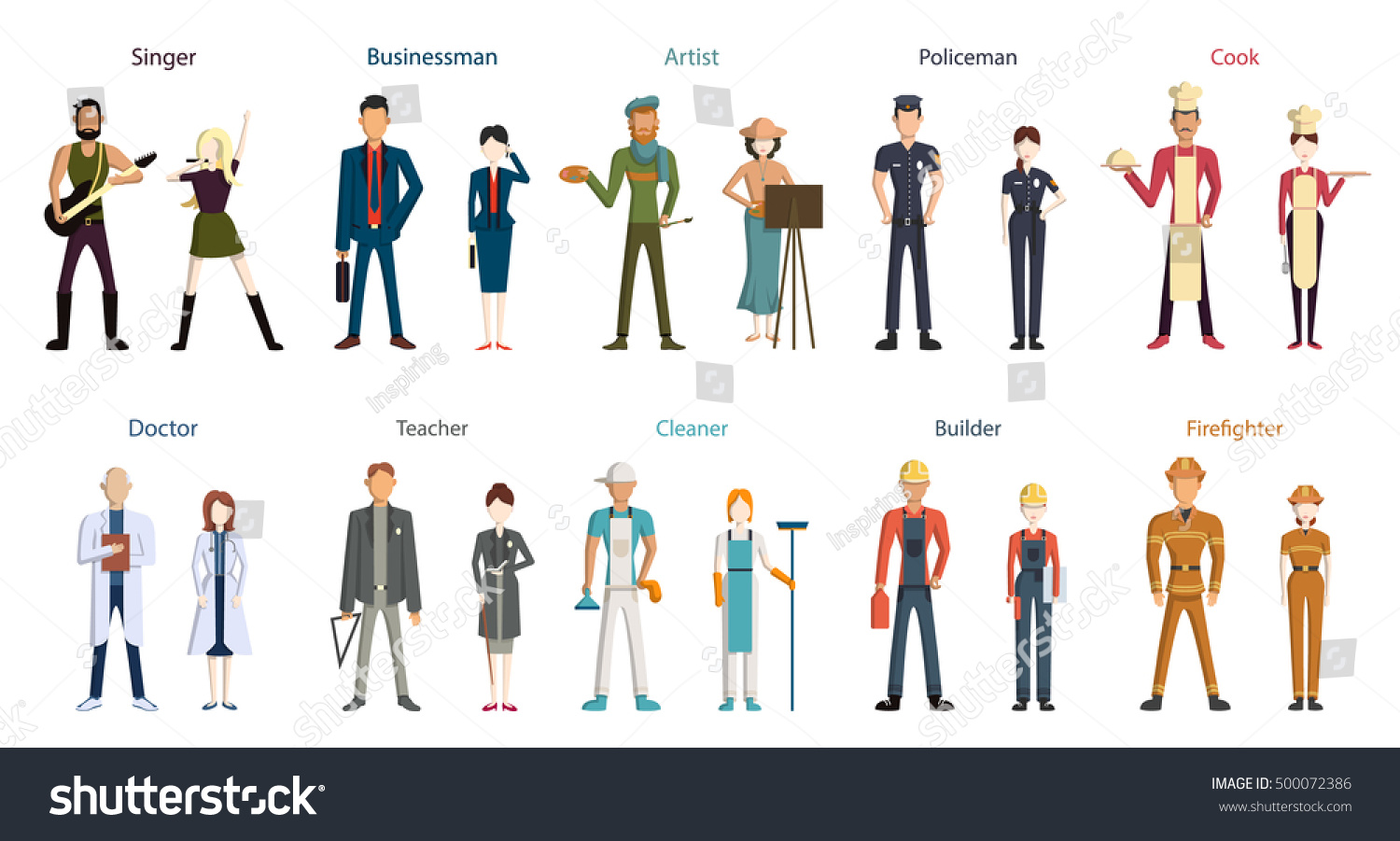 different professions set isolated cartoon characters stock vector
