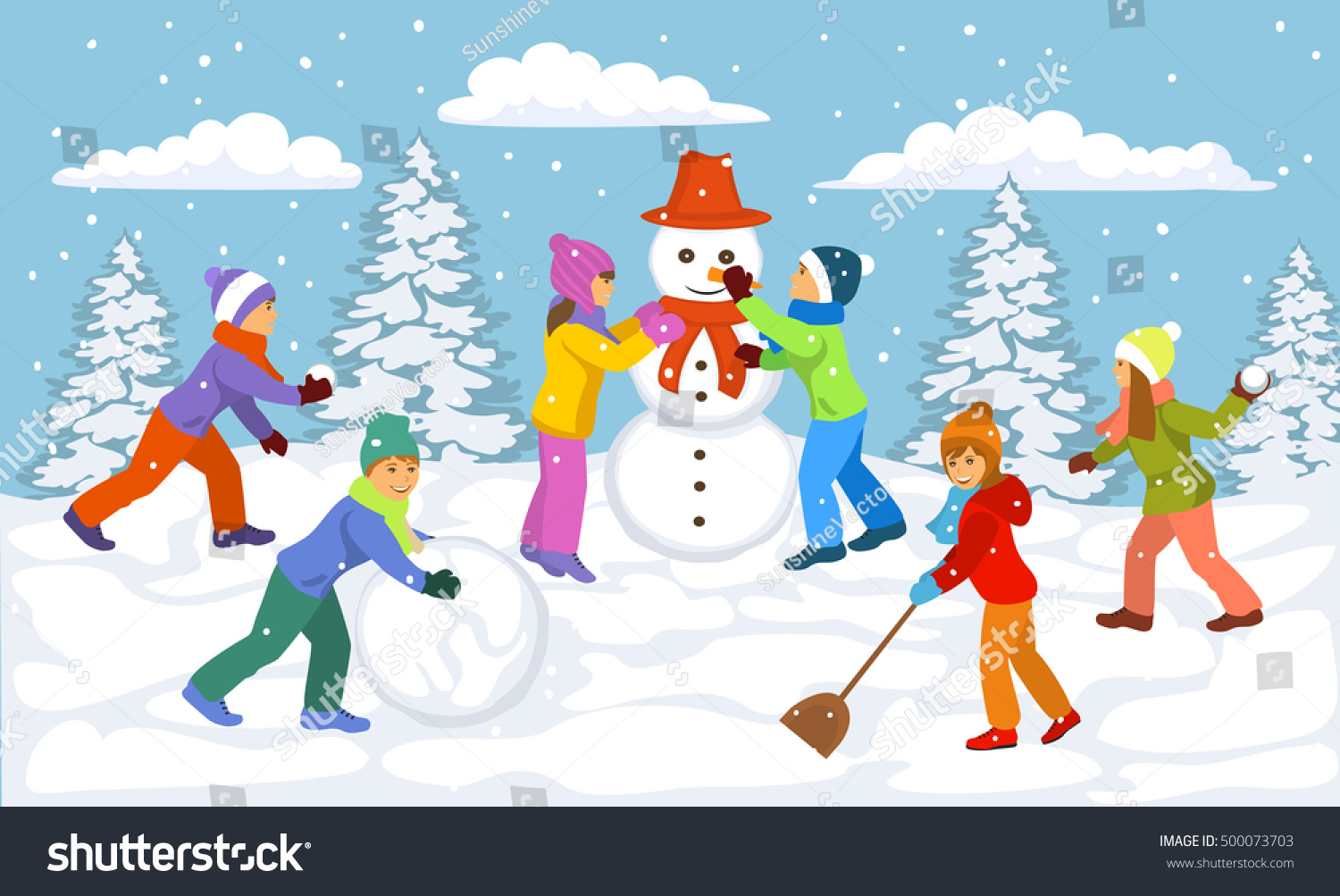 winter scene children playing outside snow stock vector