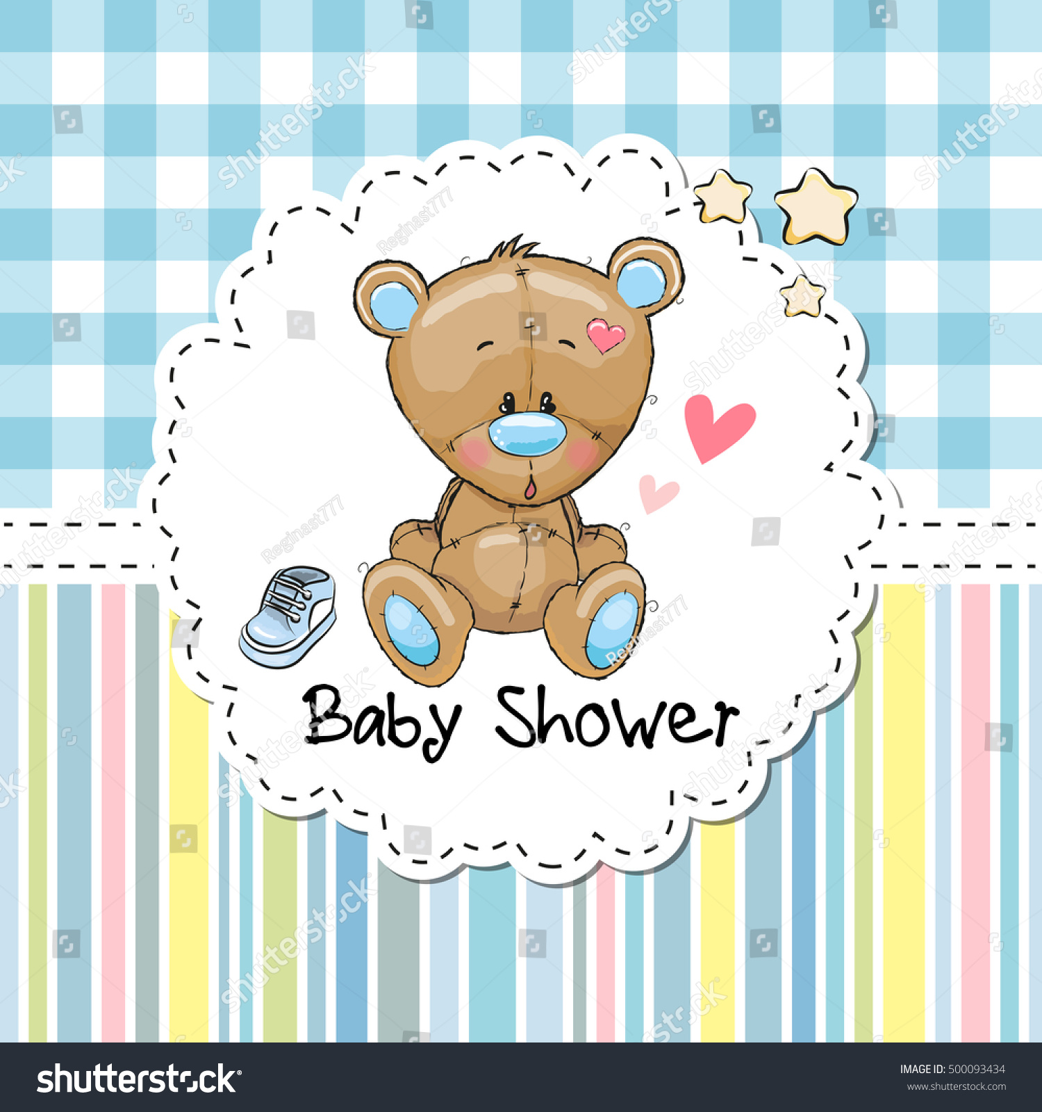 Baby Shower Greeting Card With Cute Cartoon Teddy Bear
