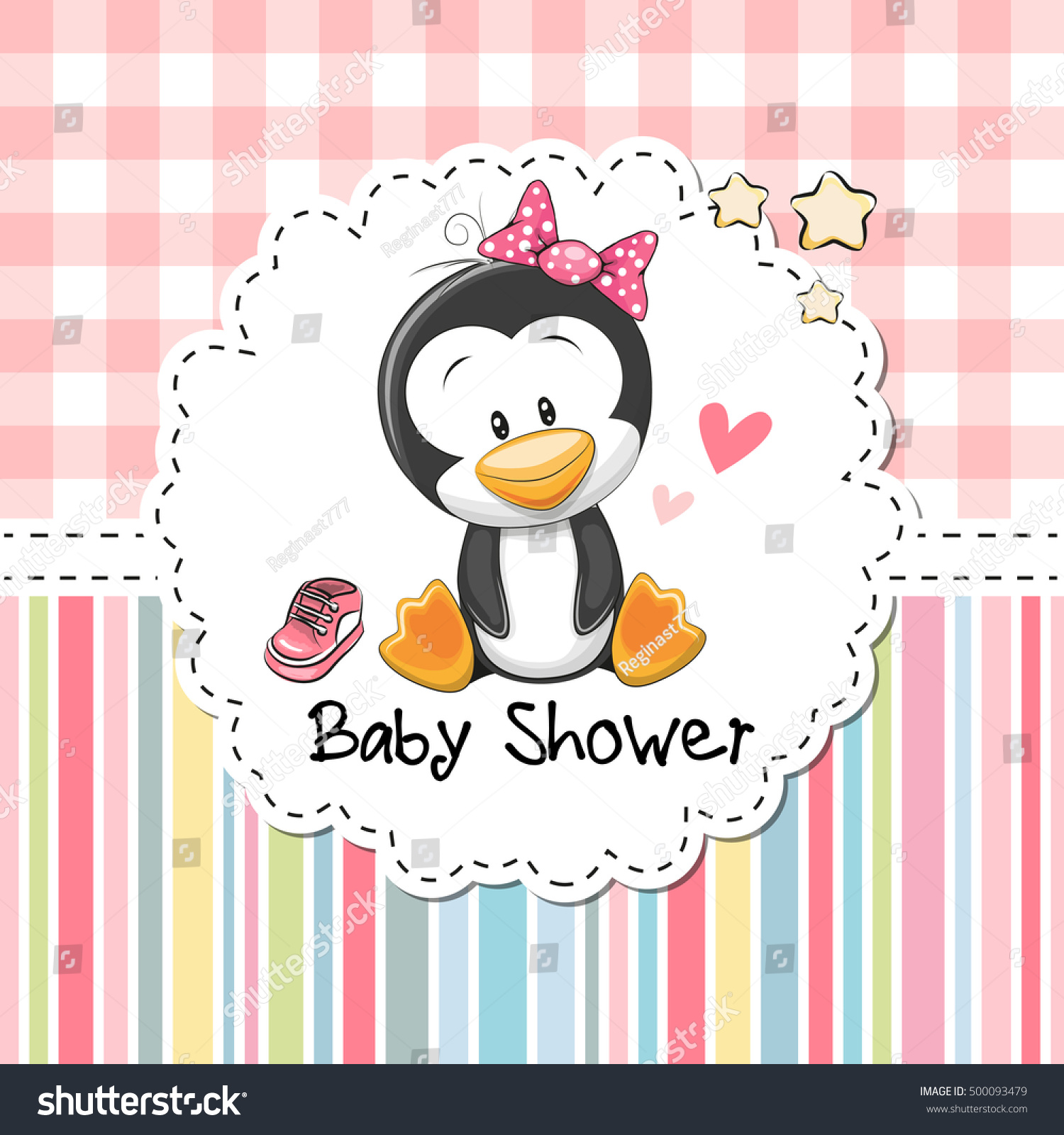 Baby Shower Greeting Card Cute Cartoon Stock Vector