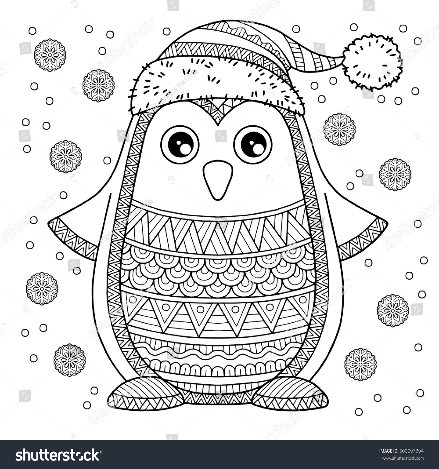 Merry Christmas Jolly Penguin Detailed Coloring Stock Vector ...