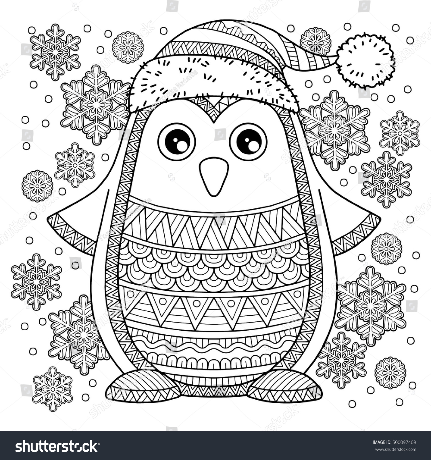 merry christmas jolly penguin detailed coloring stock vector
