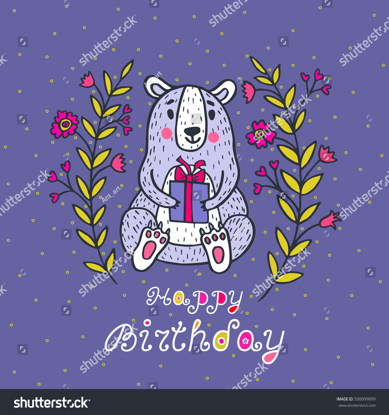 Happy birthday card vector illustrated poster stock vector 500099899 happy birthday card vector illustrated poster with bear character and gift box bookmarktalkfo Images