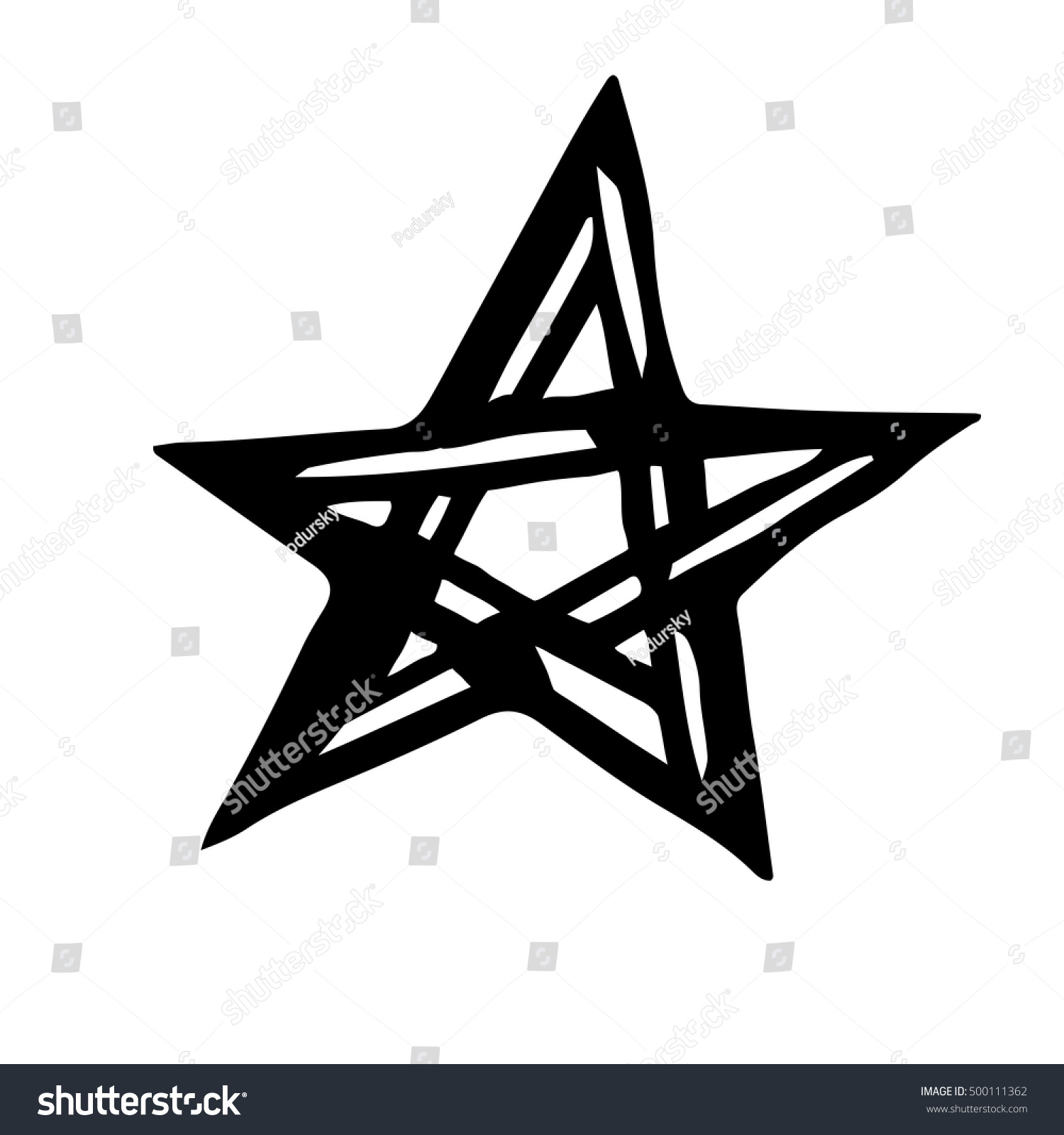 Artistic Symbol Star Black White Star Stock Vector 500111362