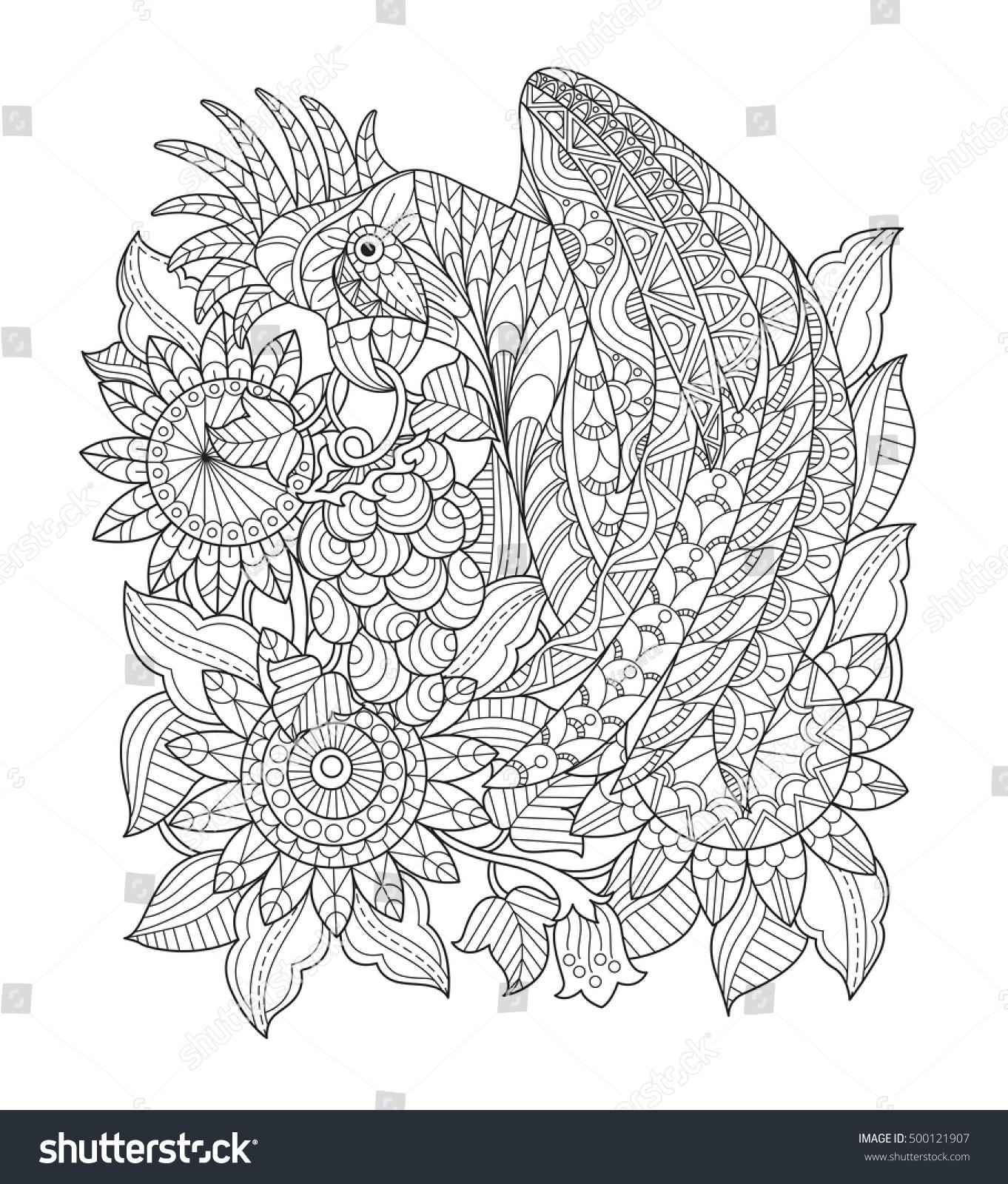 parrot sunflower garden zentangle stylized cartoon stock vector
