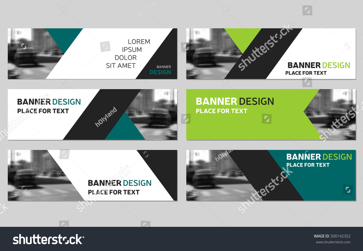 Collection six green horizontal business banner stock vector collection of six green horizontal business banner templates corporate banner website modern banner flashek Images