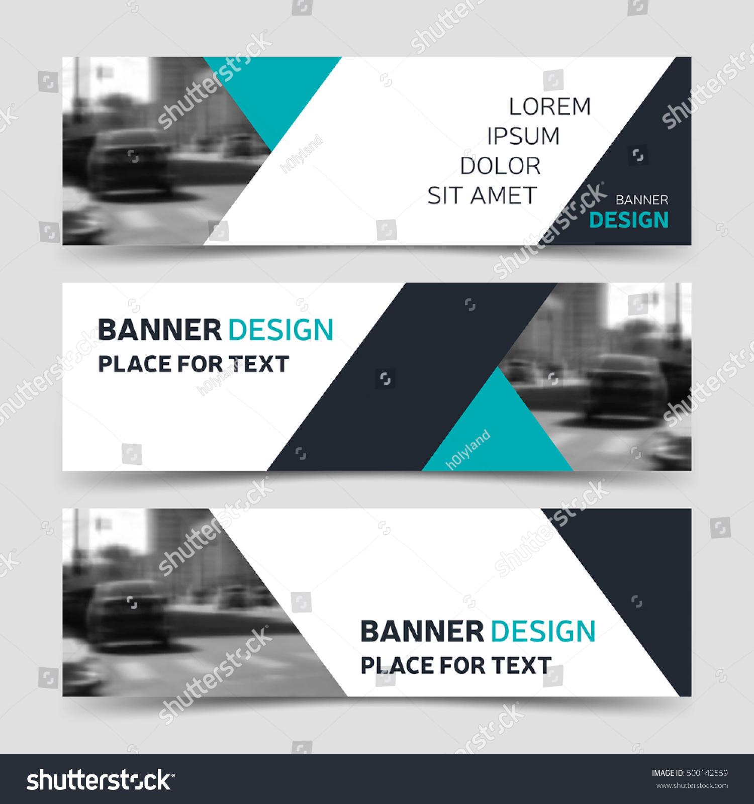 set blue horizontal business banner templates stock vector, Presentation templates