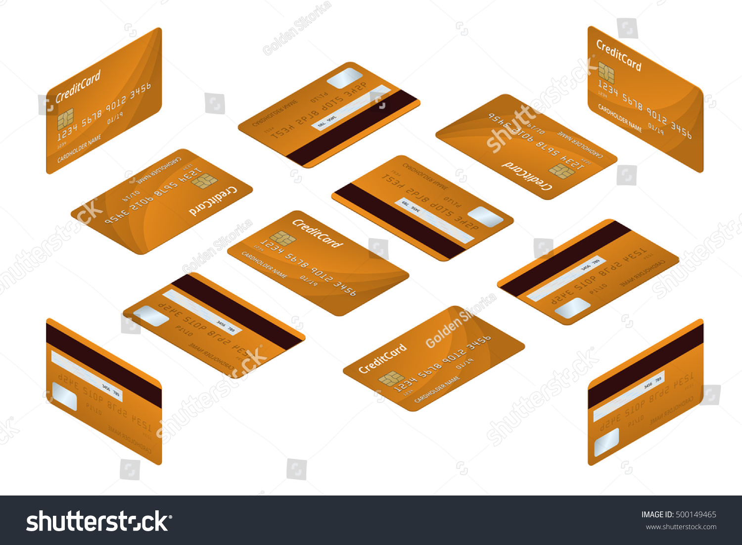 Credit Cards Isometric Money Business Card Stock Vector 500149465 ...