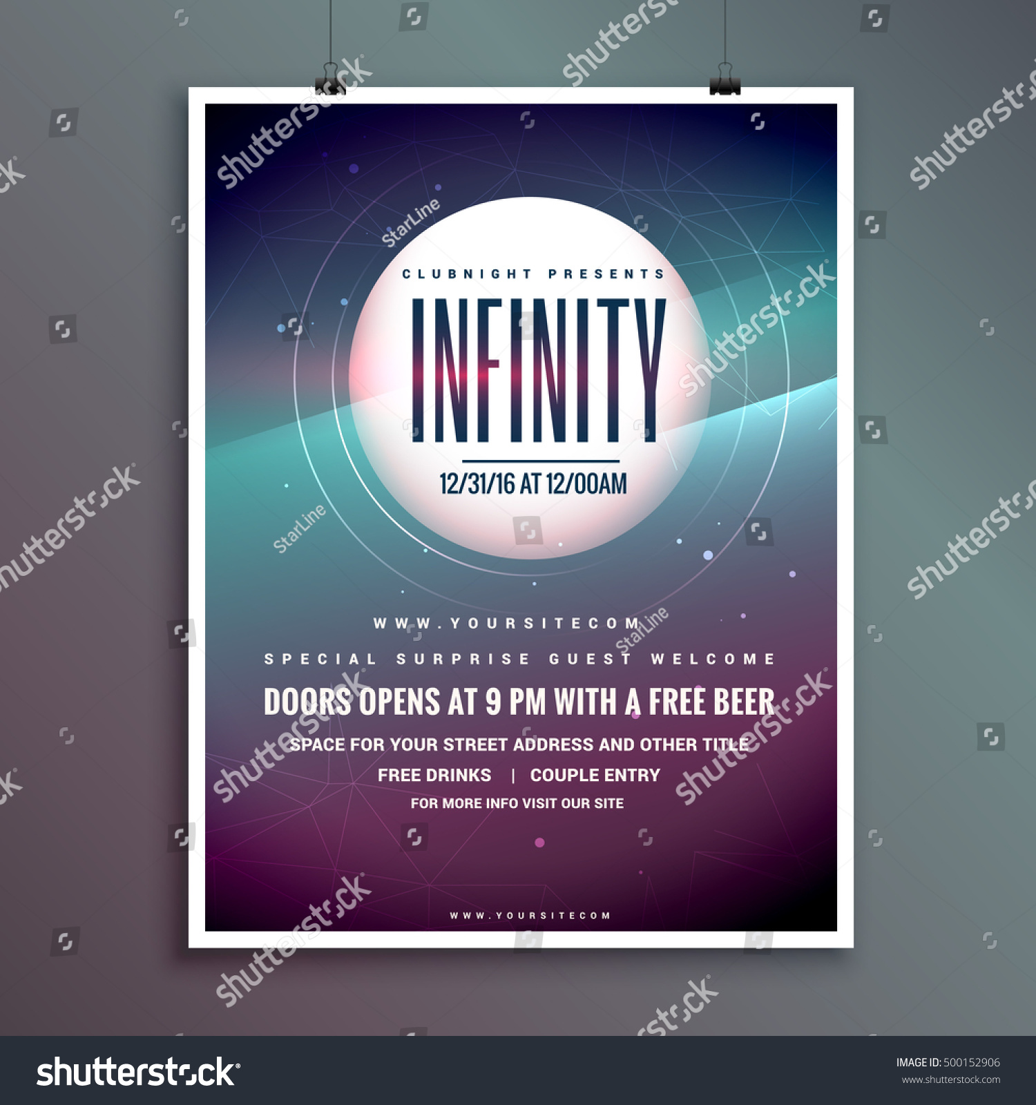 Party Invitation Flyer Template With Colorful Abstract Background