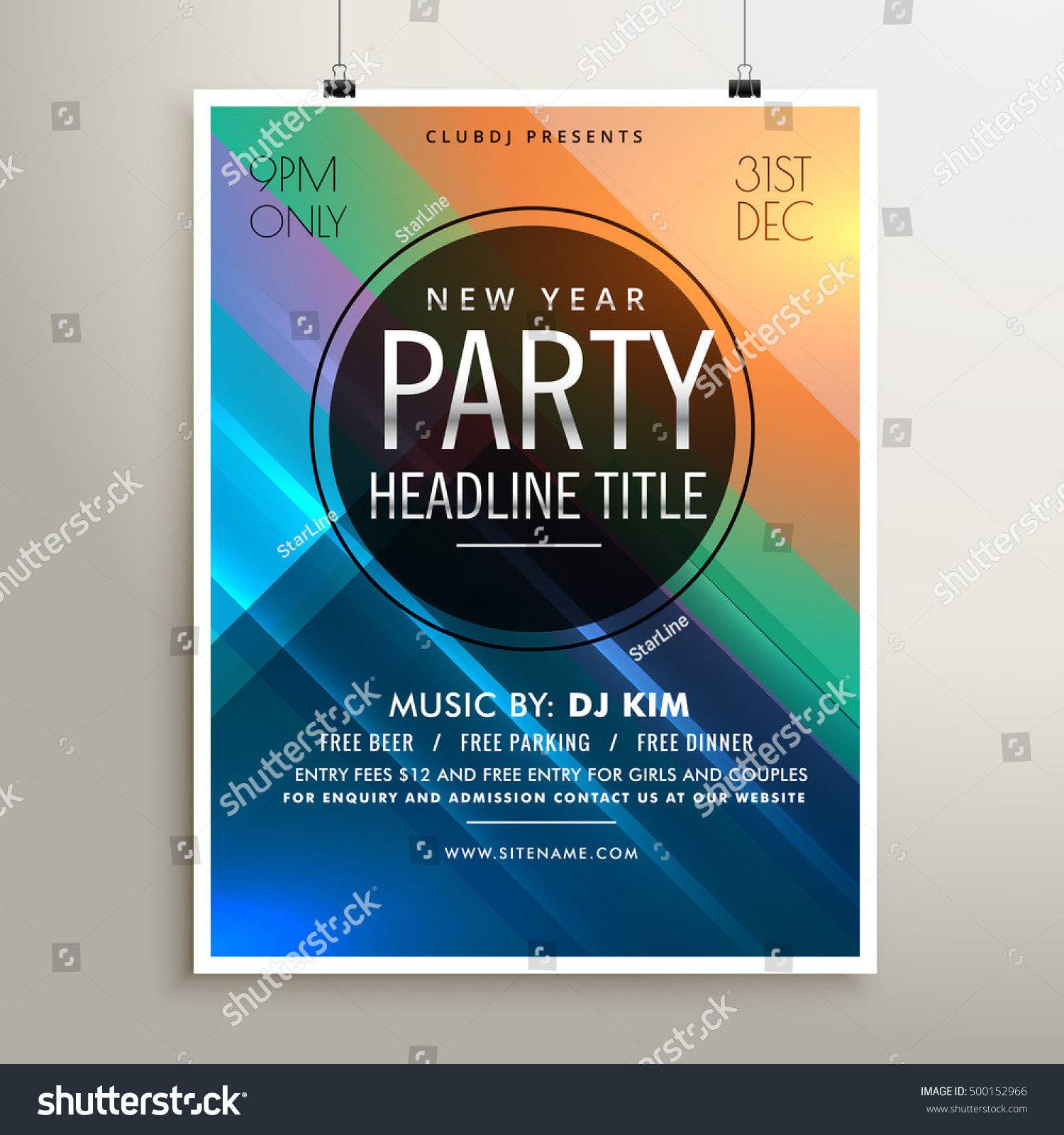 Party Event Flyer Template Colorful Stripes Stock Vector Royalty