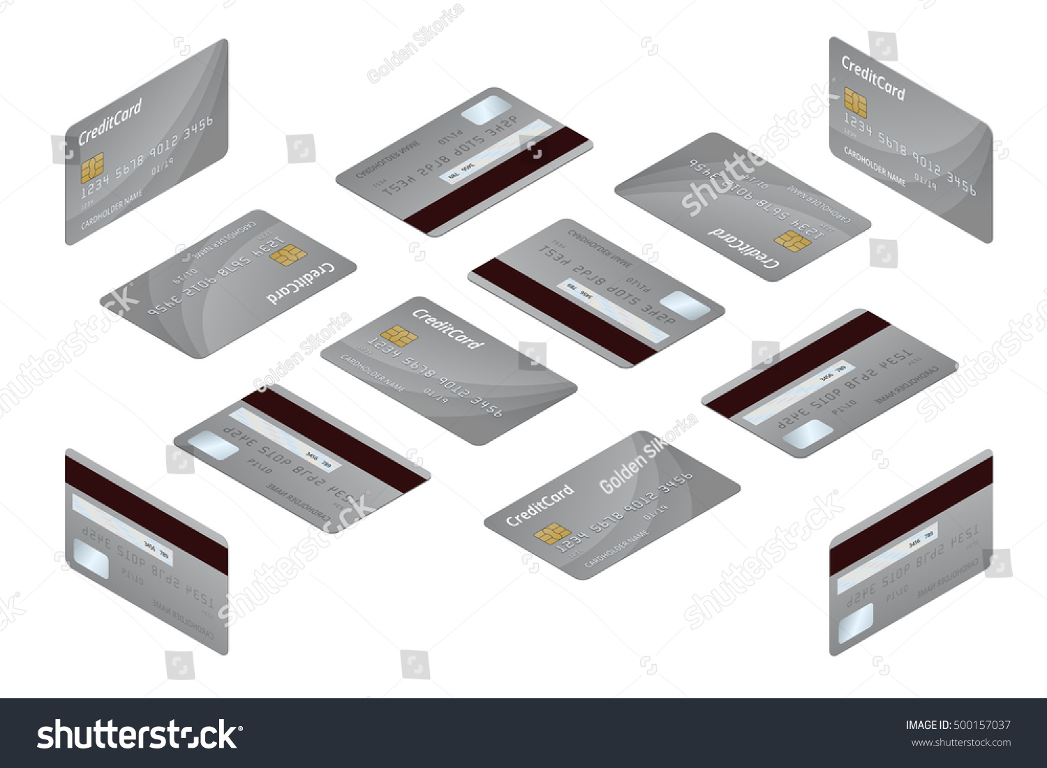 Credit Cards Isometric Money Business Card Stock Illustration ...