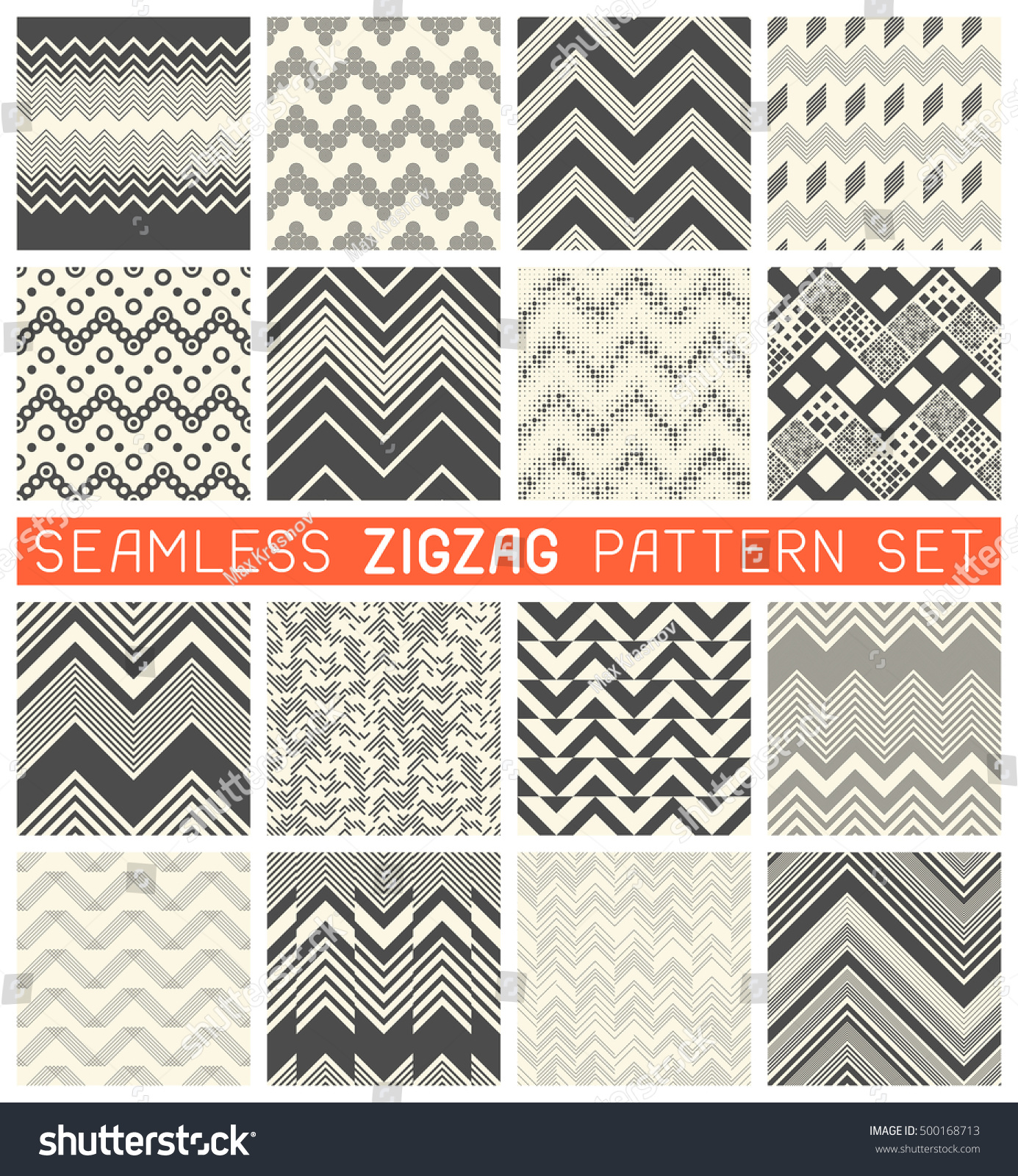 seamless zig zag pattern set chevron stock vector 500168713 shutterstock. Black Bedroom Furniture Sets. Home Design Ideas