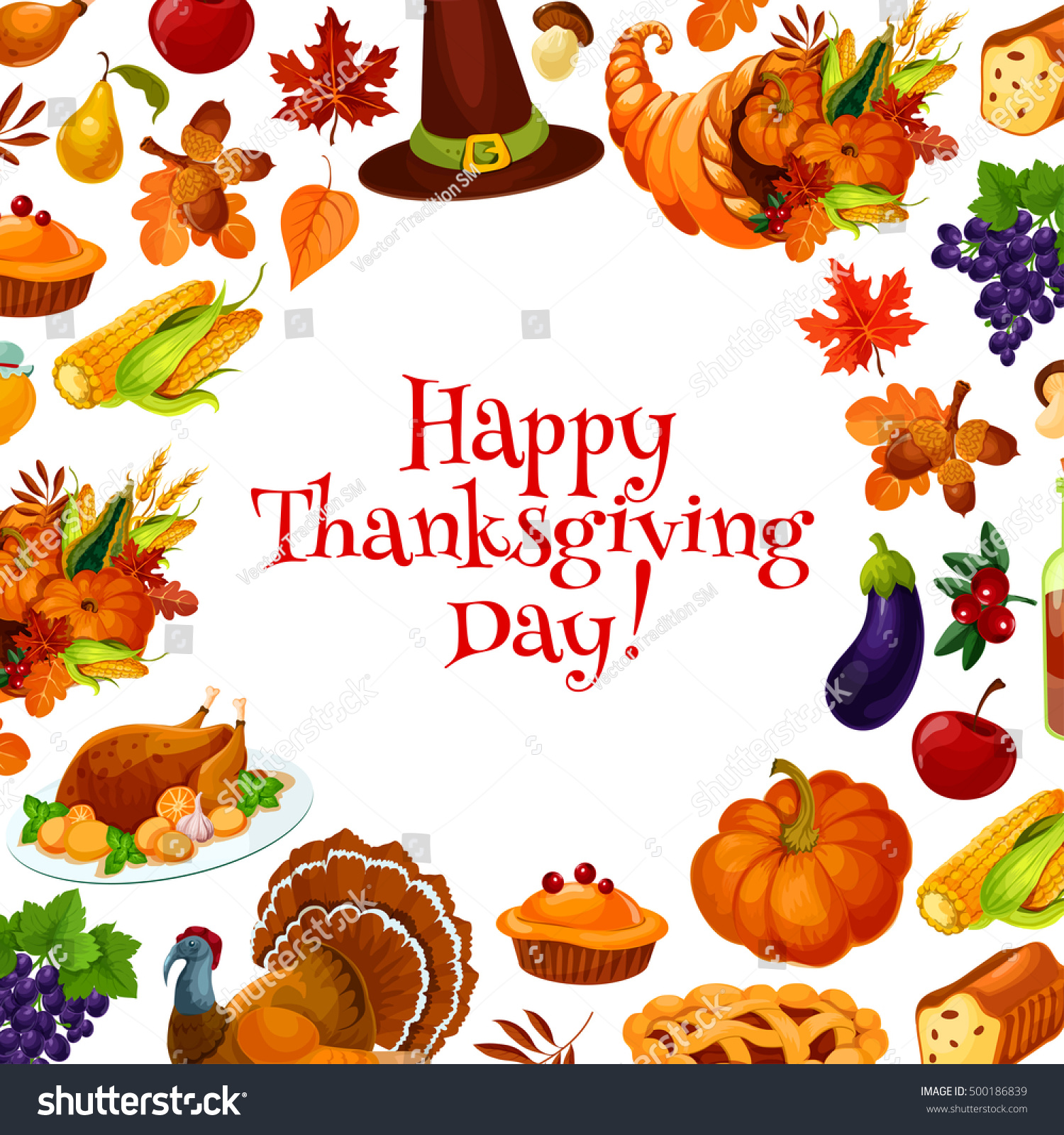 Happy thanksgiving day greeting card banner stock vector 500186839 happy thanksgiving day greeting card banner with text and background of traditional thanksgiving vector elements m4hsunfo
