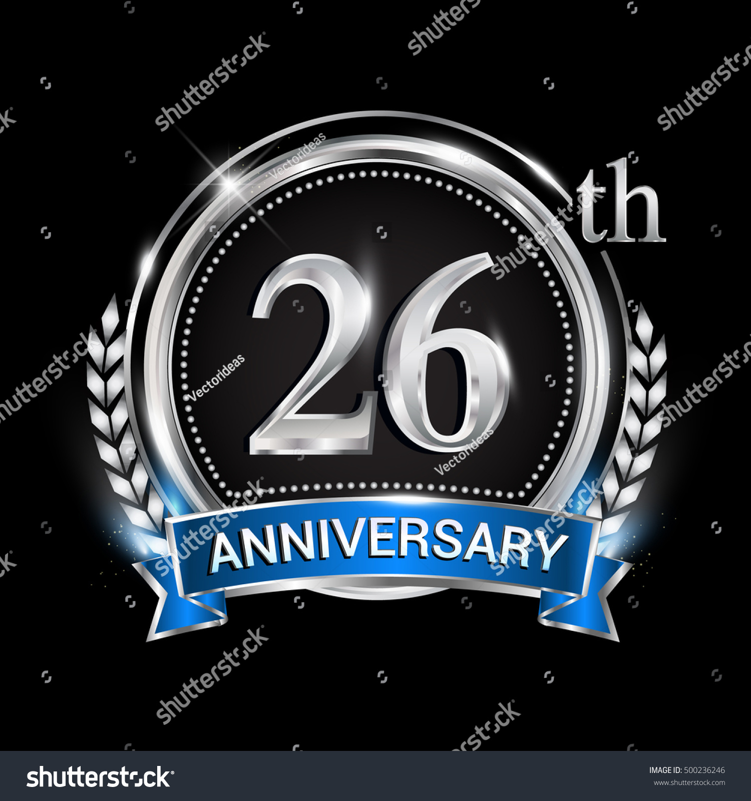 26th Anniversary Logo Silver Ring Combination Stock Vector