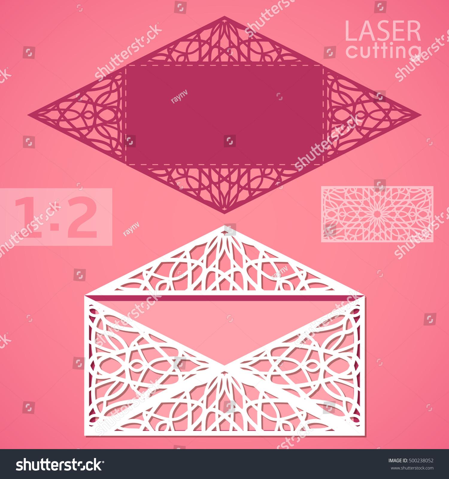 die laser cut envelope patterned corners wedding stock vector