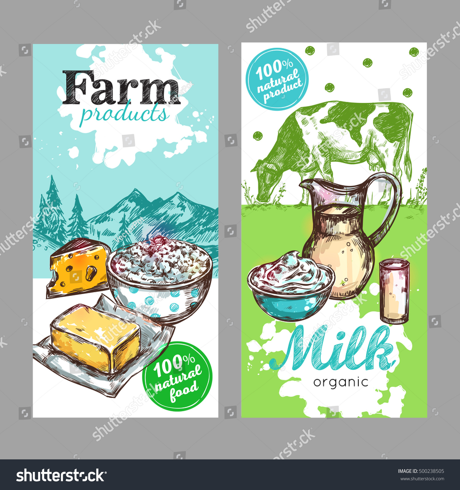 Two Vertical Farm Products Milk Banner Stock Vector