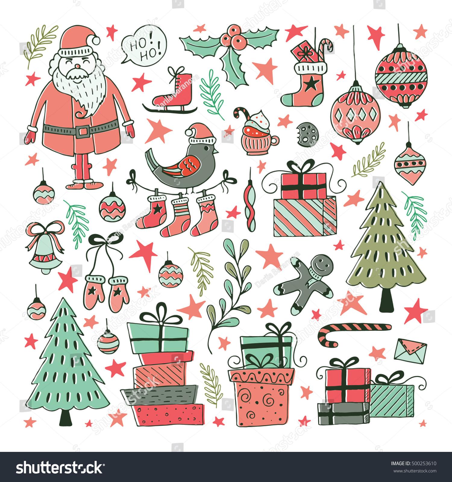 Vector Set Hand Drawn Christmas Illustrations Stock-Vektorgrafik ...