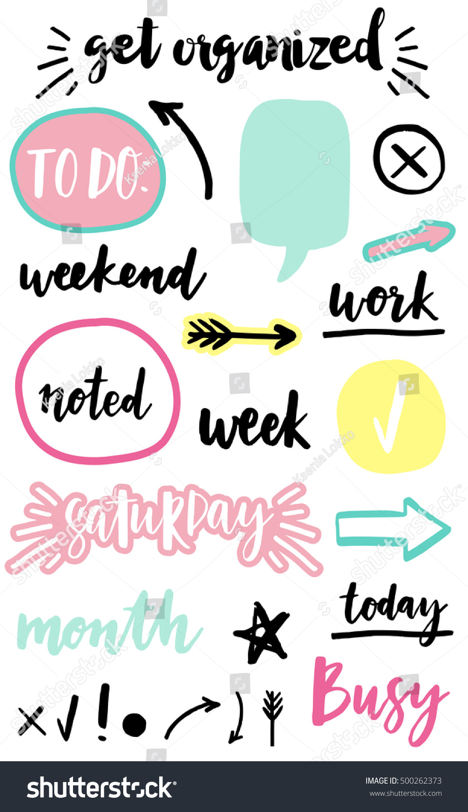 Signs Symbols Organized Your Planner Template Stock Vector ... for Planner Stickers Template  76uhy