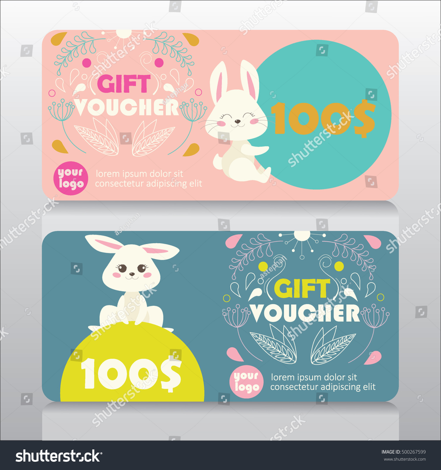 Baby goods kids store gift voucher stock vector 500267599 baby goods or kids store gift voucher template with cute bunny and floral design vector negle Gallery