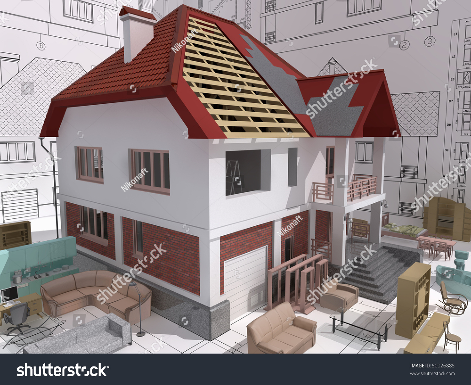 3d isometric view of the residential house during building