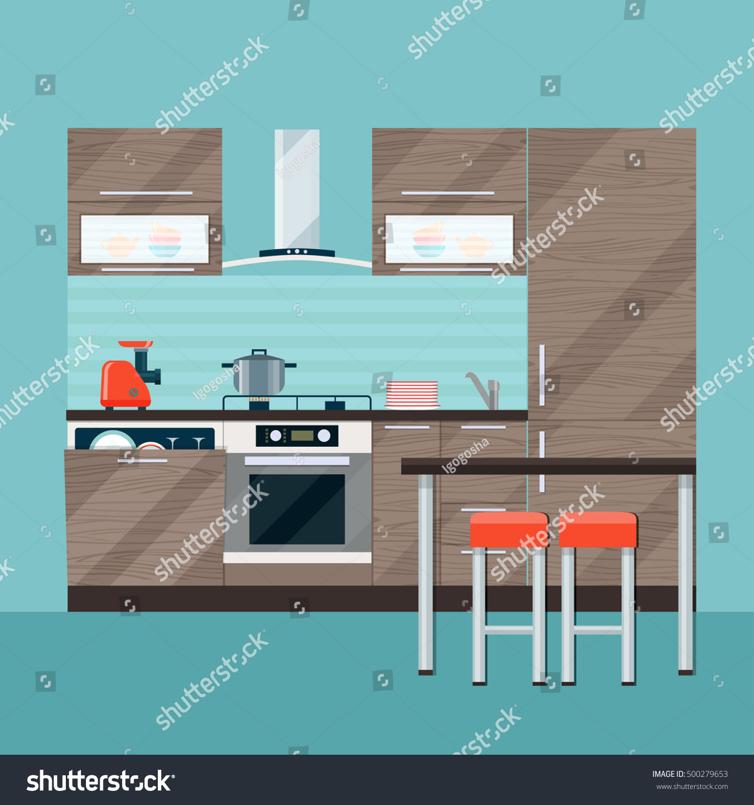 Modern Kitchen Interior And Dining Room Vector Flat Illustration