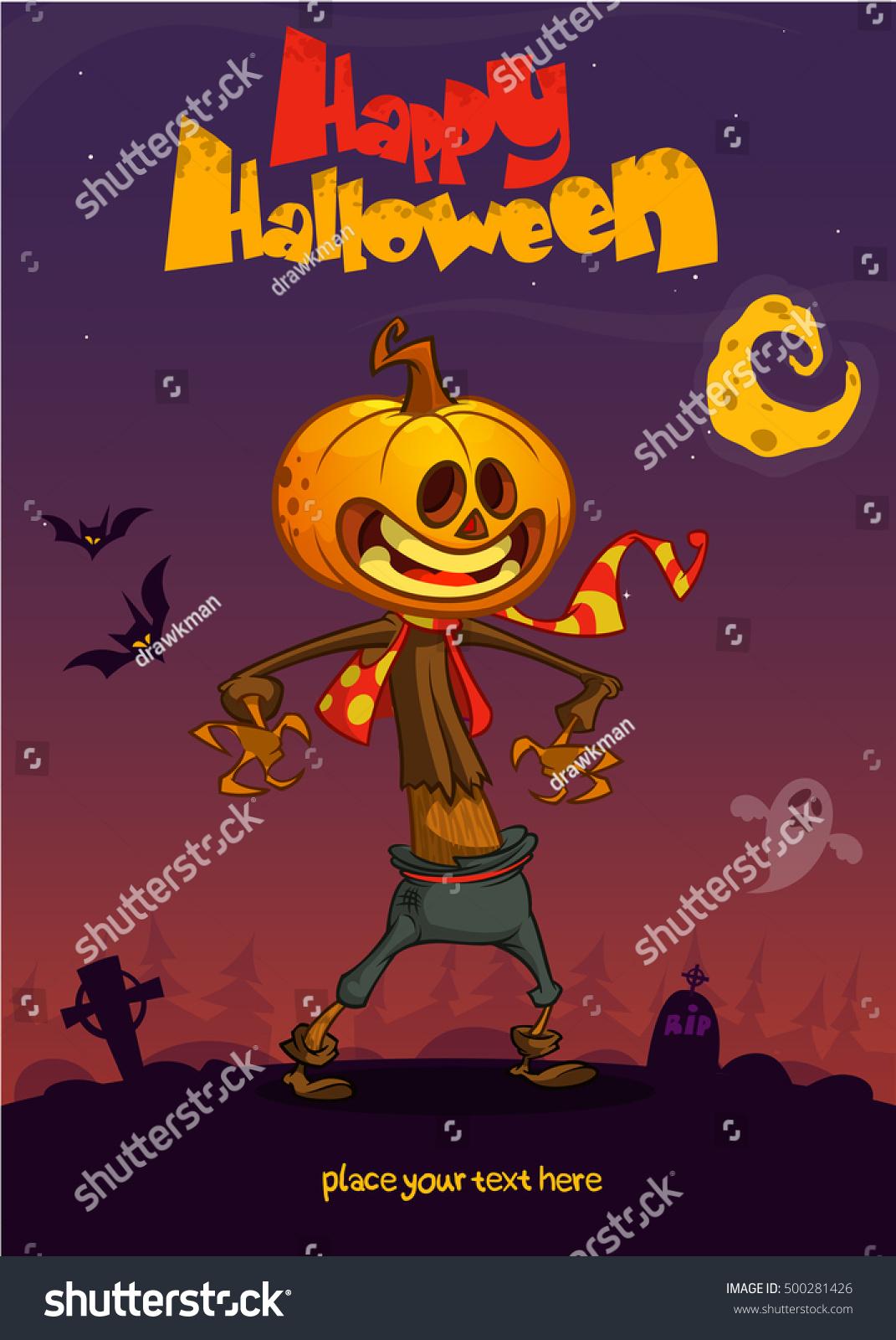 Halloween Cartoon Scarecrow Pumpkin Head Vector Stock Vector ...