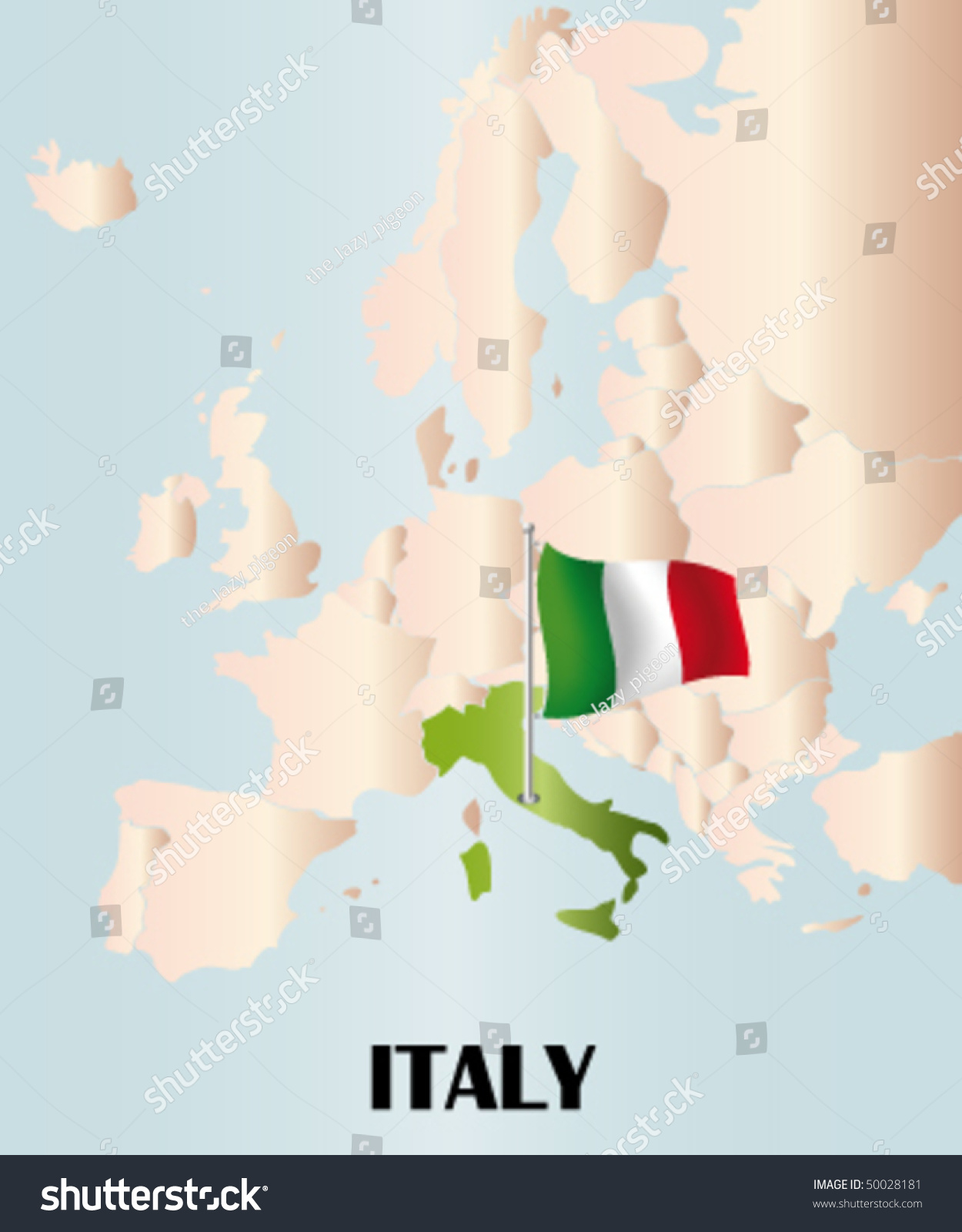 Detailed Vector Map Italy Europe Stock Vector Royalty Free