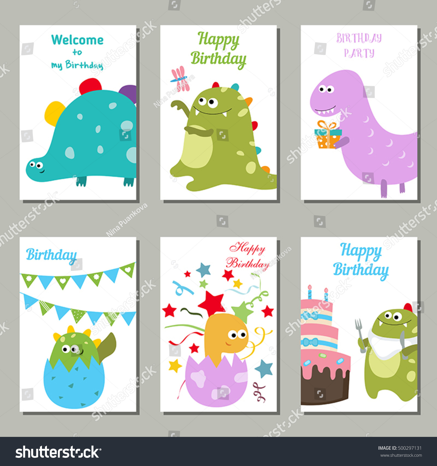 Set Beautiful Birthday Invitation Cards Decorated Stock Vector ...