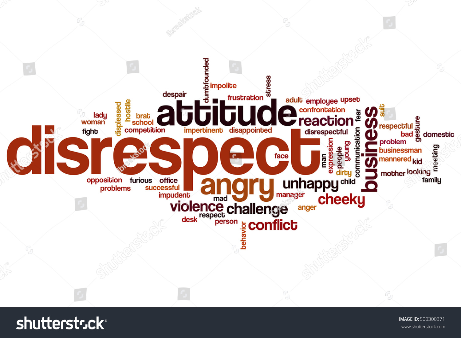 disrespect word cloud concept words related stock illustration