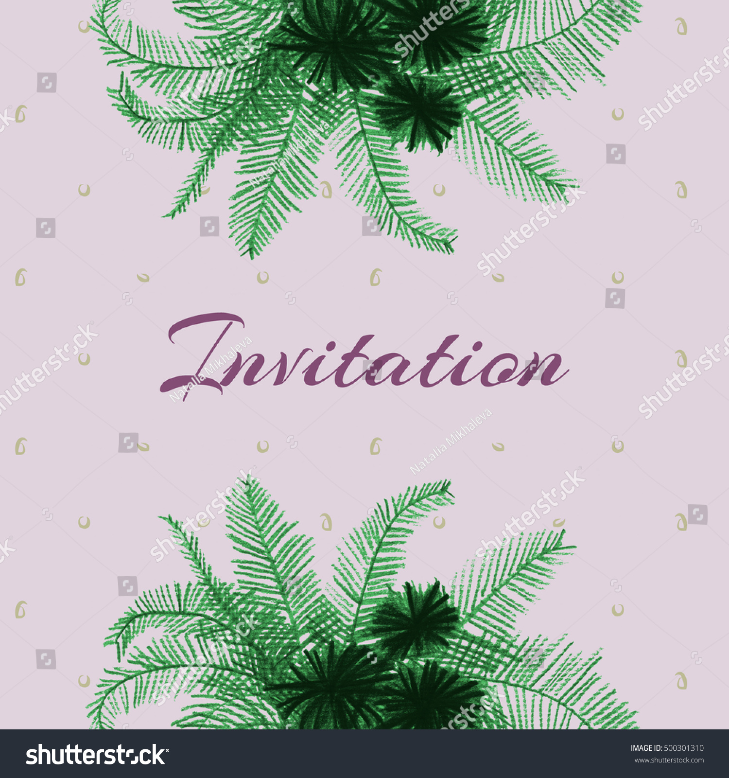 Invitation Featuring Colored Pencil Drawing Palm Stock Illustration ...