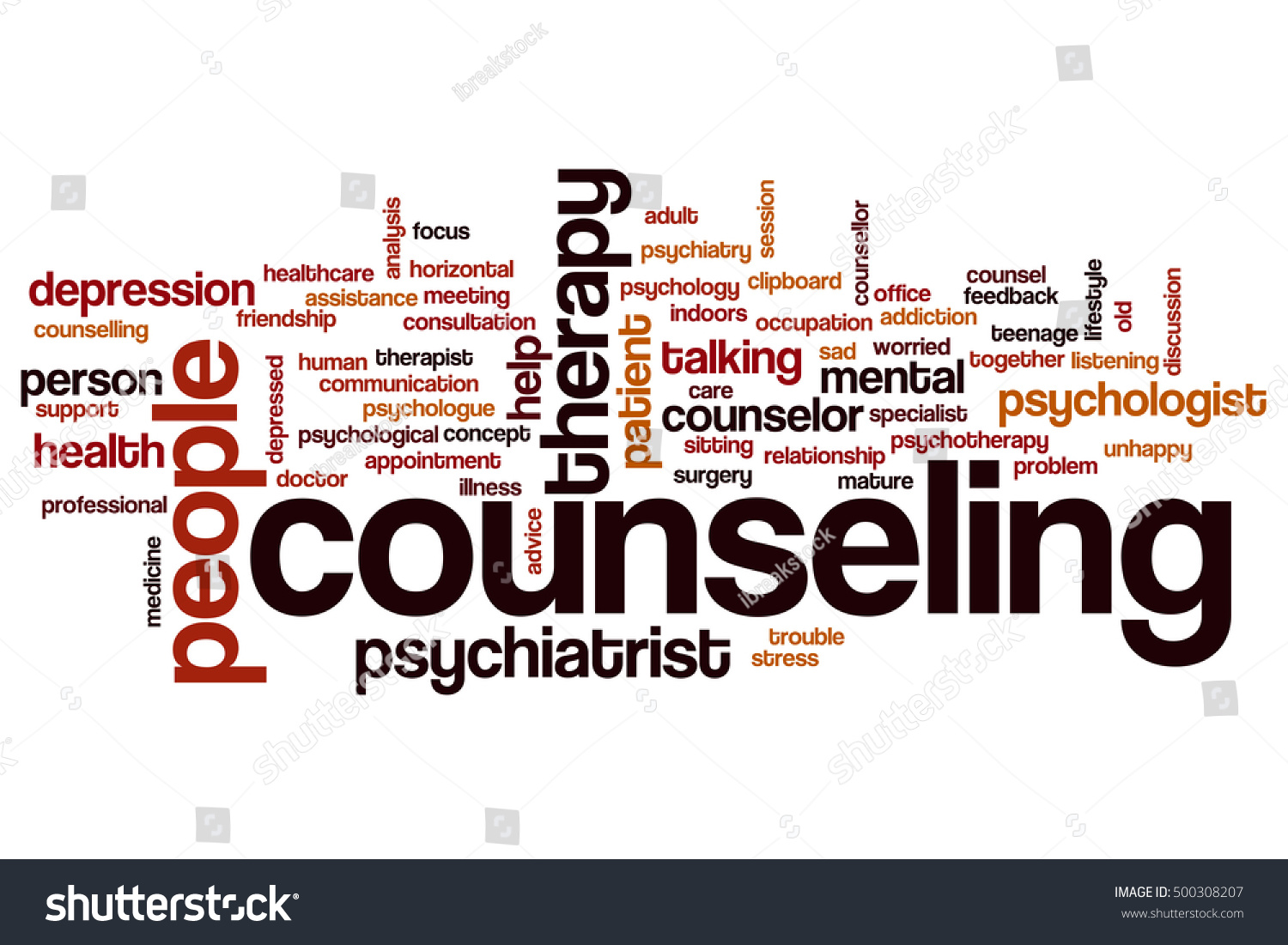 Counseling Word Cloud Concept Stock Illustration 500308207
