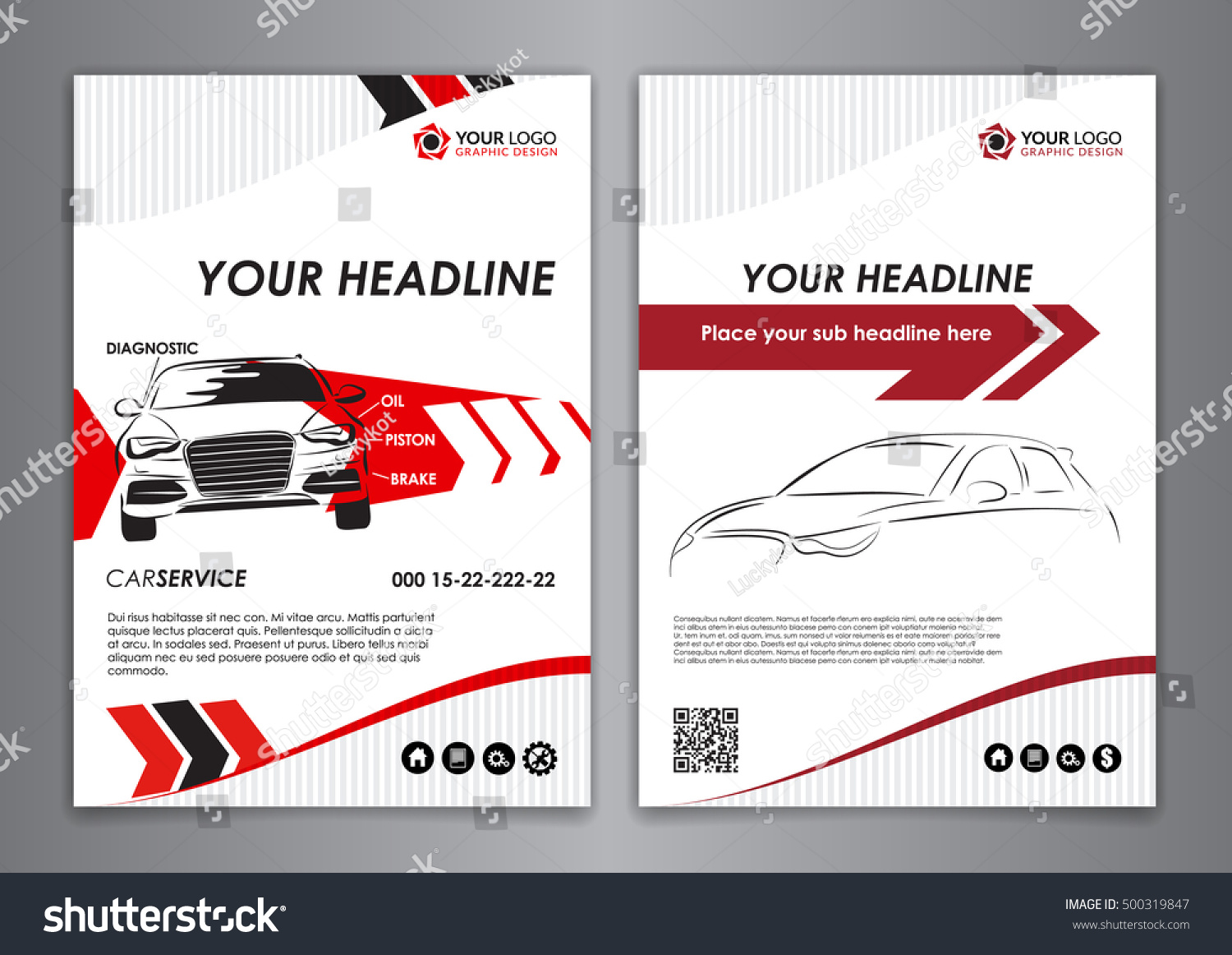 A5 a4 set service car business stock vector 500319847 shutterstock a5 a4 set service car business card templates car repair business catalogue cover layout magicingreecefo Images
