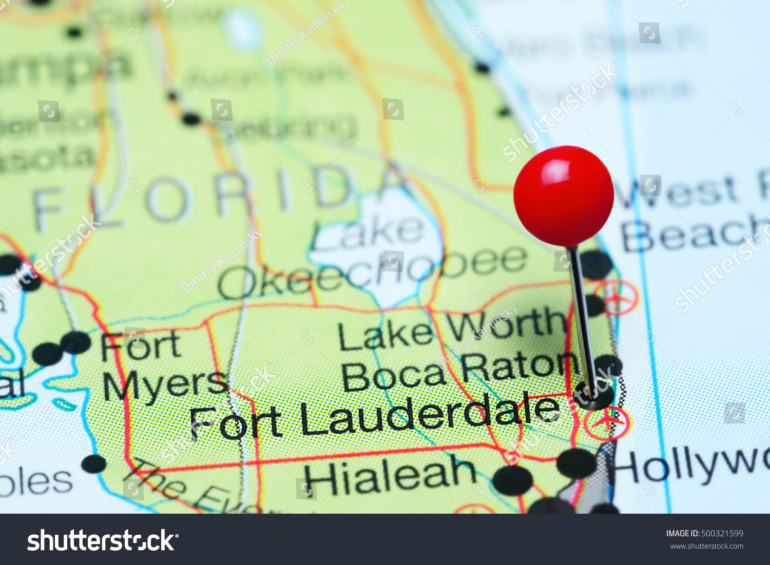 Fort Lauderdale Pinned On Map Florida Stock Photo (Edit Now) 500321599