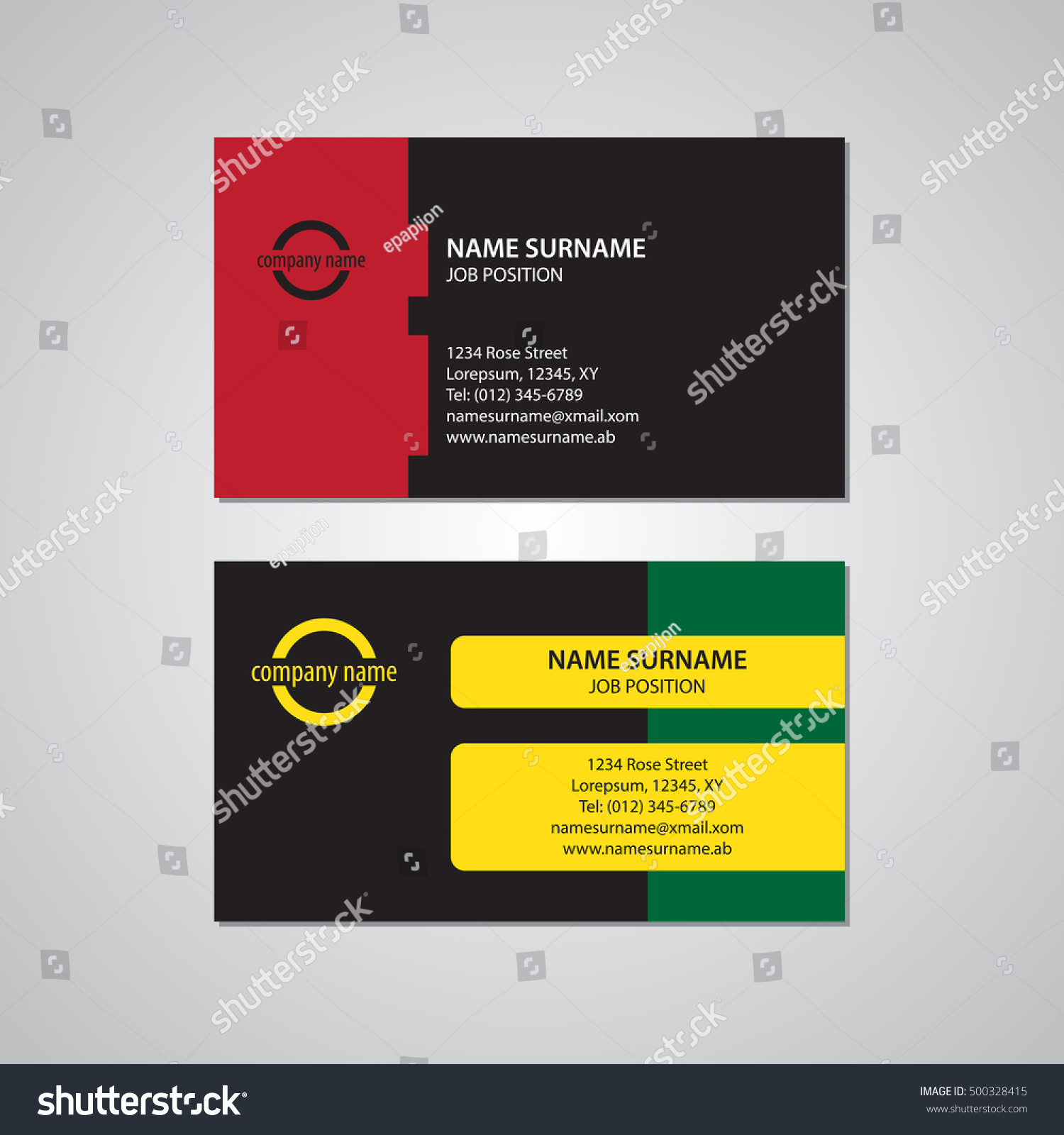 Set Two Colored Business Cards Red Stock Vector 500328415 - Shutterstock