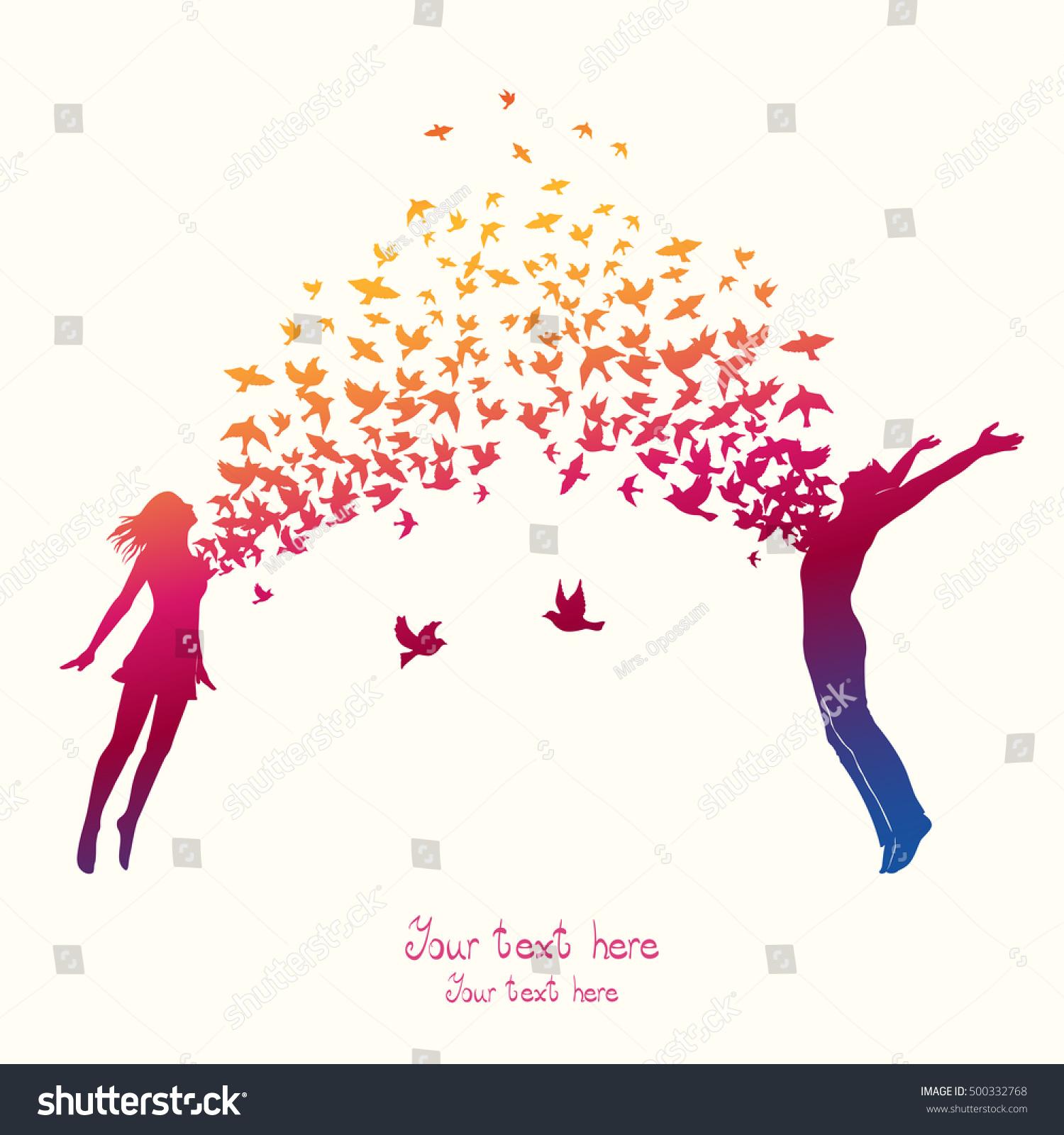 girl boy jumping swarm birds stock vector (royalty free) 500332768