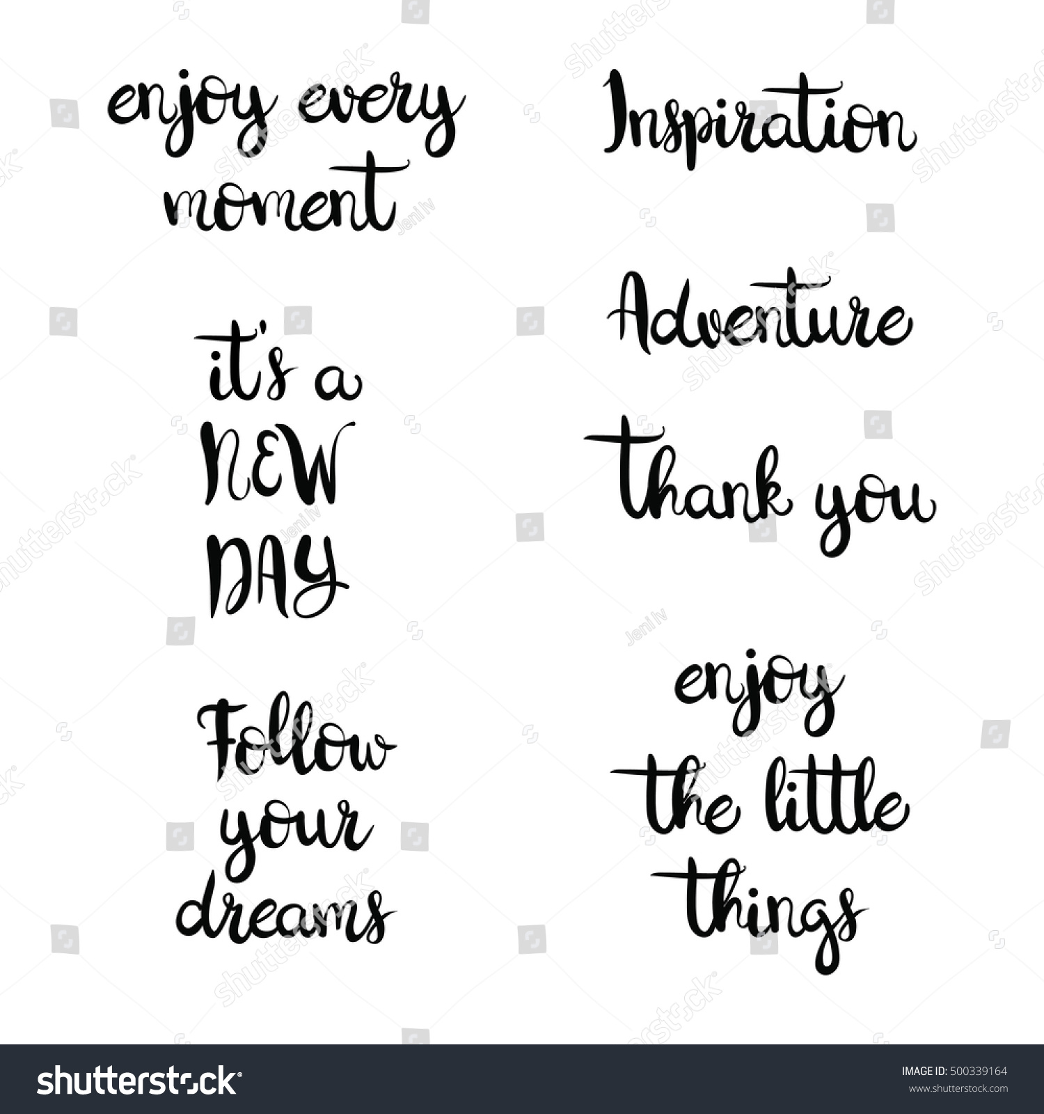 Inspirational Phrases Set Inspirational Phrases On White Background Stock Vector