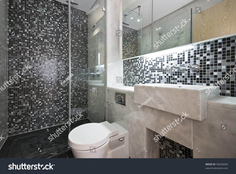 Modern Bathroom Black White Mosaic Tiled Stock Photo 50034094 Shutterstock