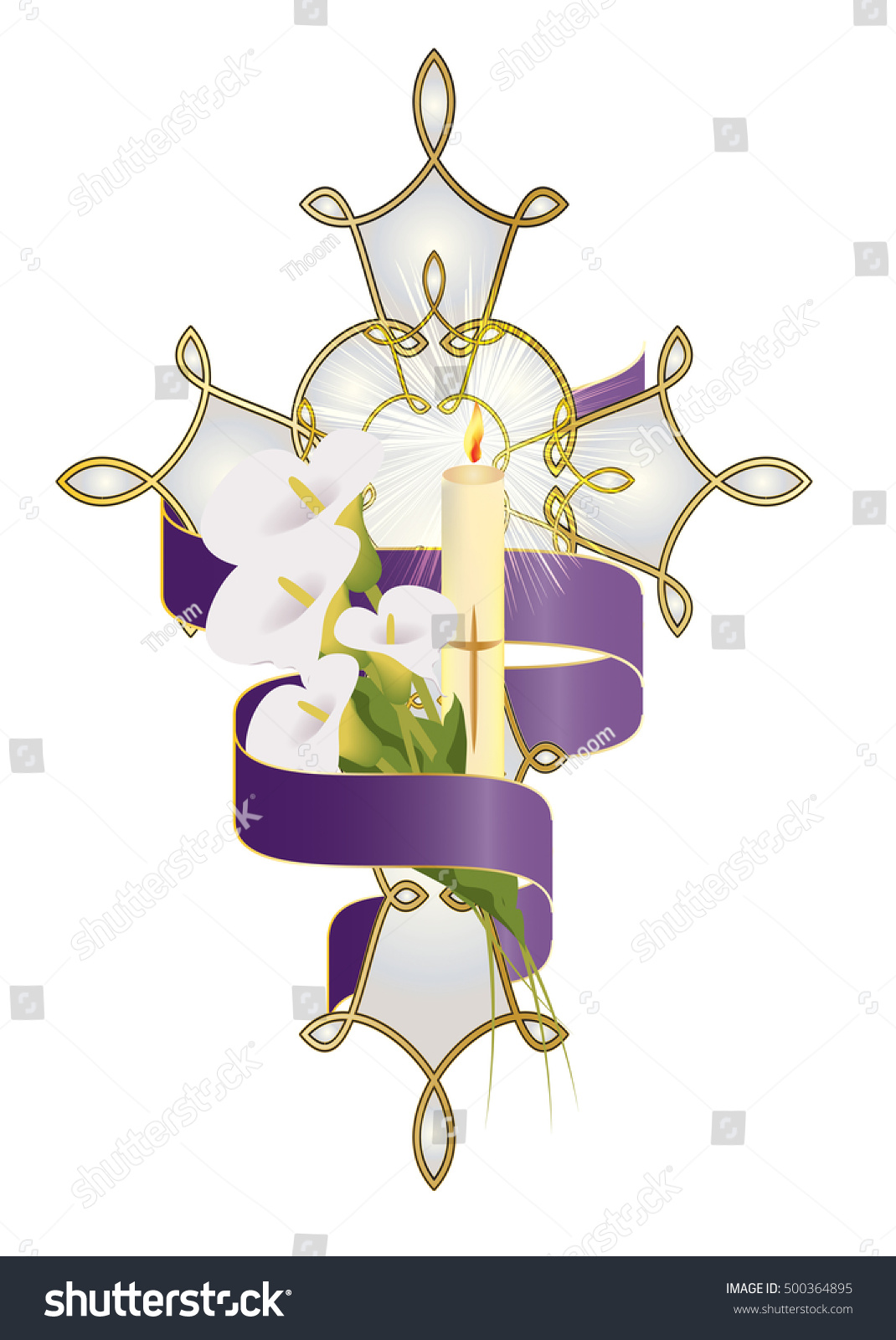 Cross Flowers Candle Purple Ribbon Christian Stock Vector Royalty