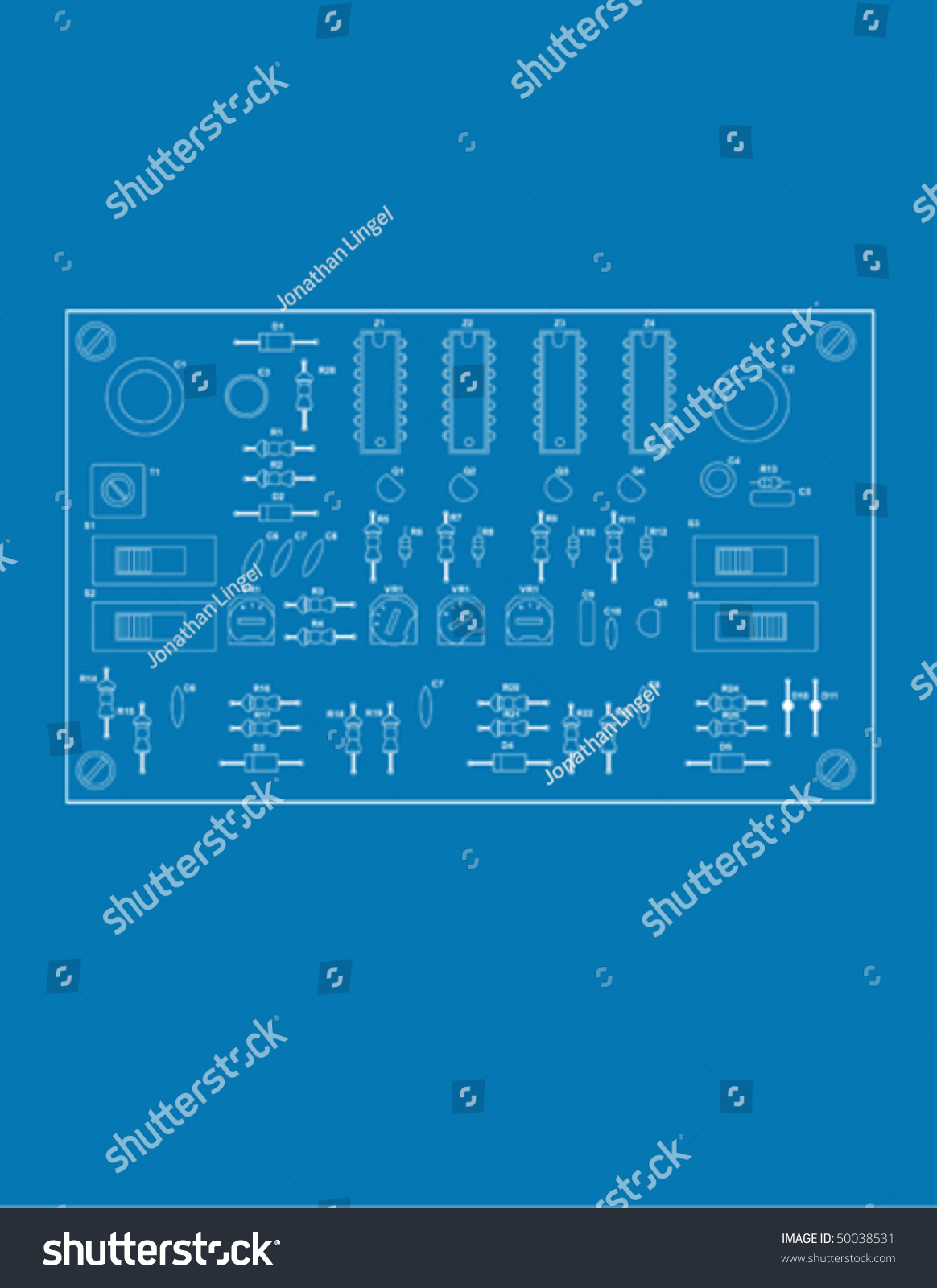 Blue Print Style Illustration Printed Circuit Stock Vector (Royalty ...