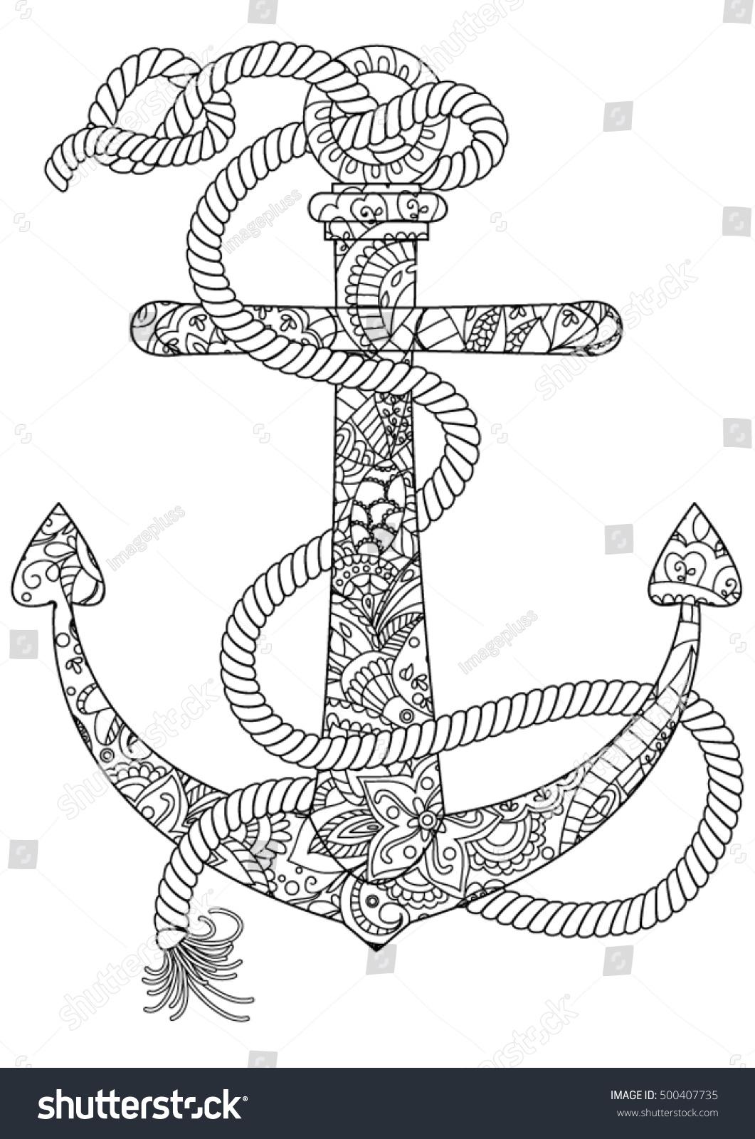 ocean coloring page anchor vectores en stock 500407735 shutterstock