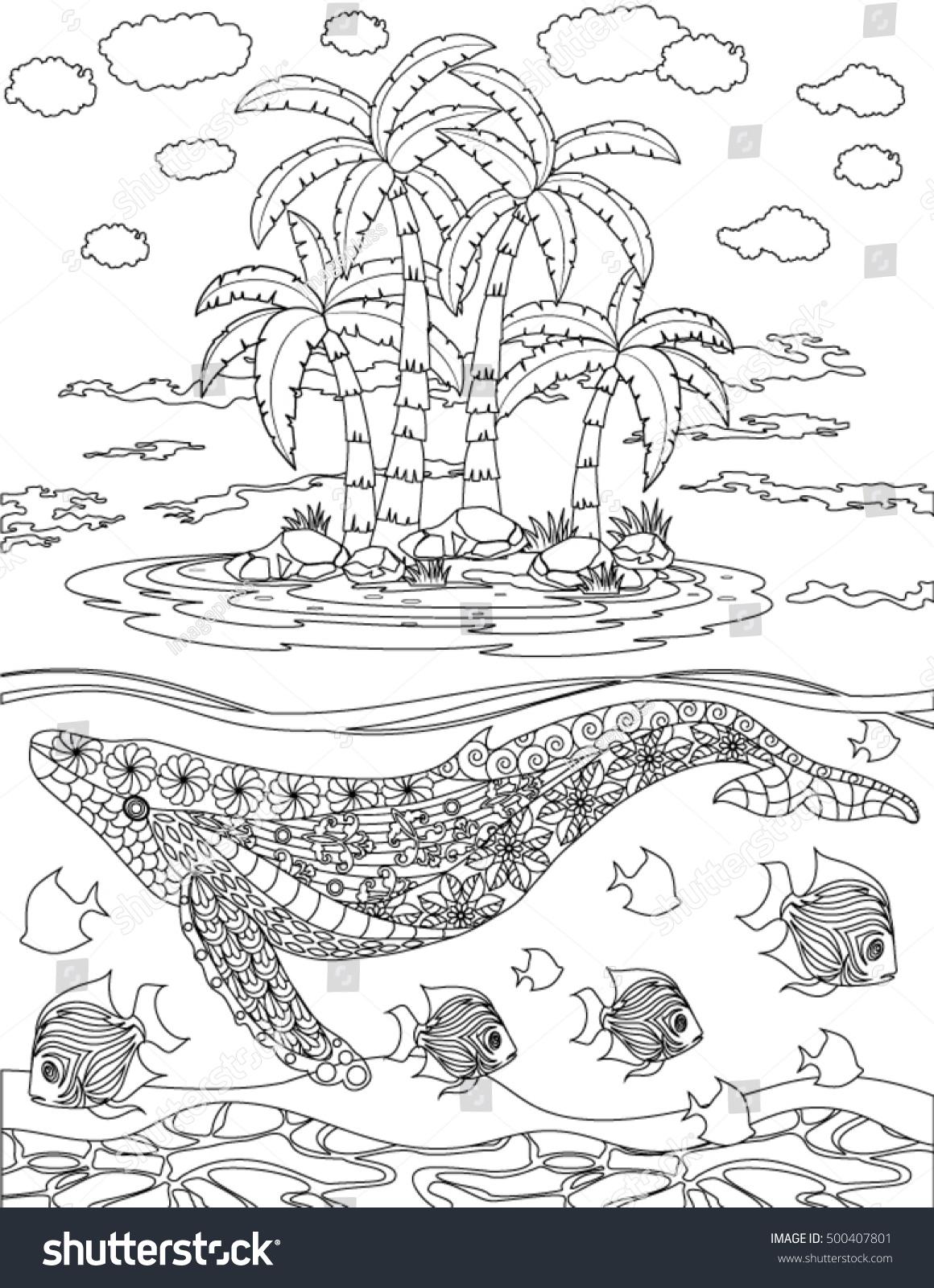 ocean coloring page stock vector 500407801 shutterstock