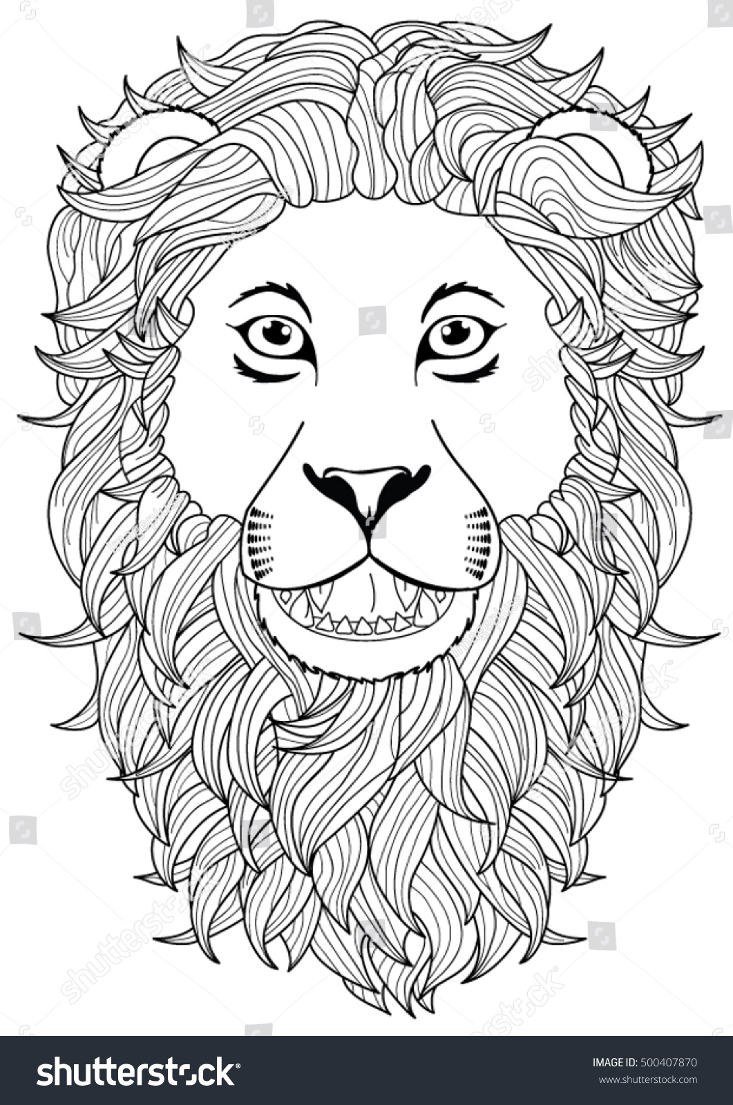 Lion Head Coloring Page Stock Vector 500407870 - Shutterstock
