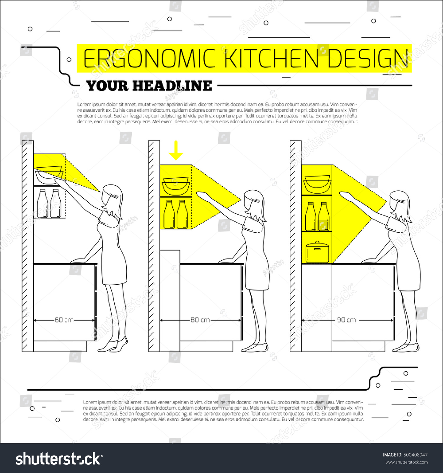 Ergonomics Kitchen Design Vector Illustration Line Stock