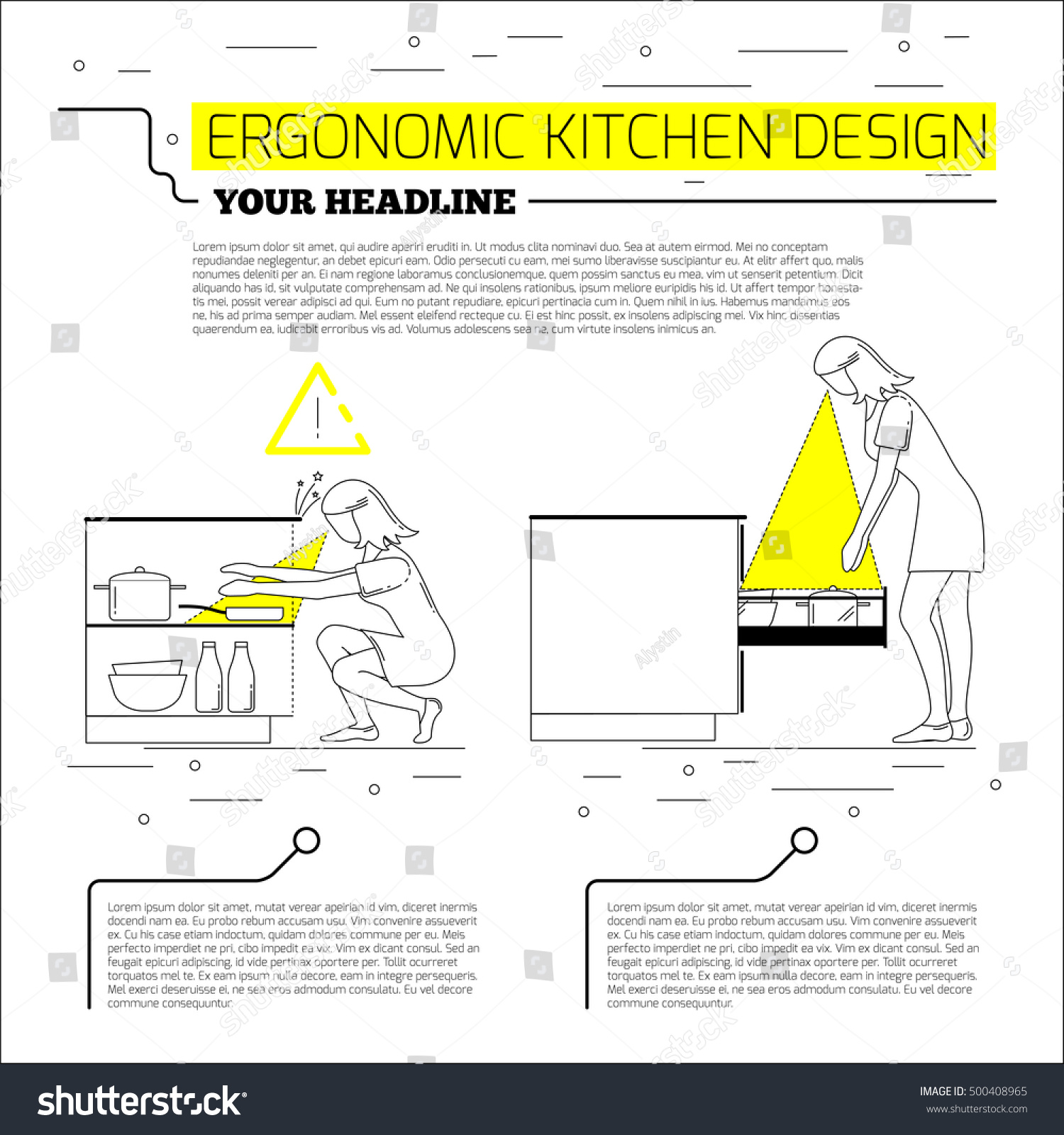 Ergonomics Kitchen Design Vector Illustration Line Stock Vector 500408965 Shutterstock