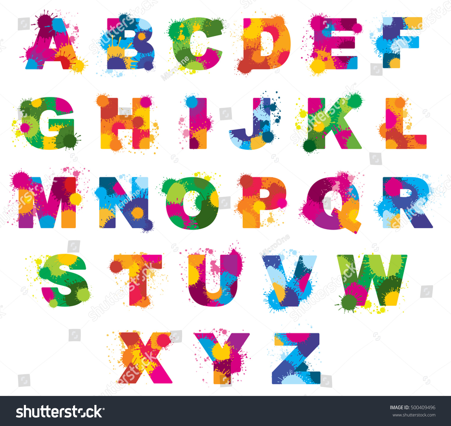 Letters Alphabet Painted By Color Splashes Stock Vector