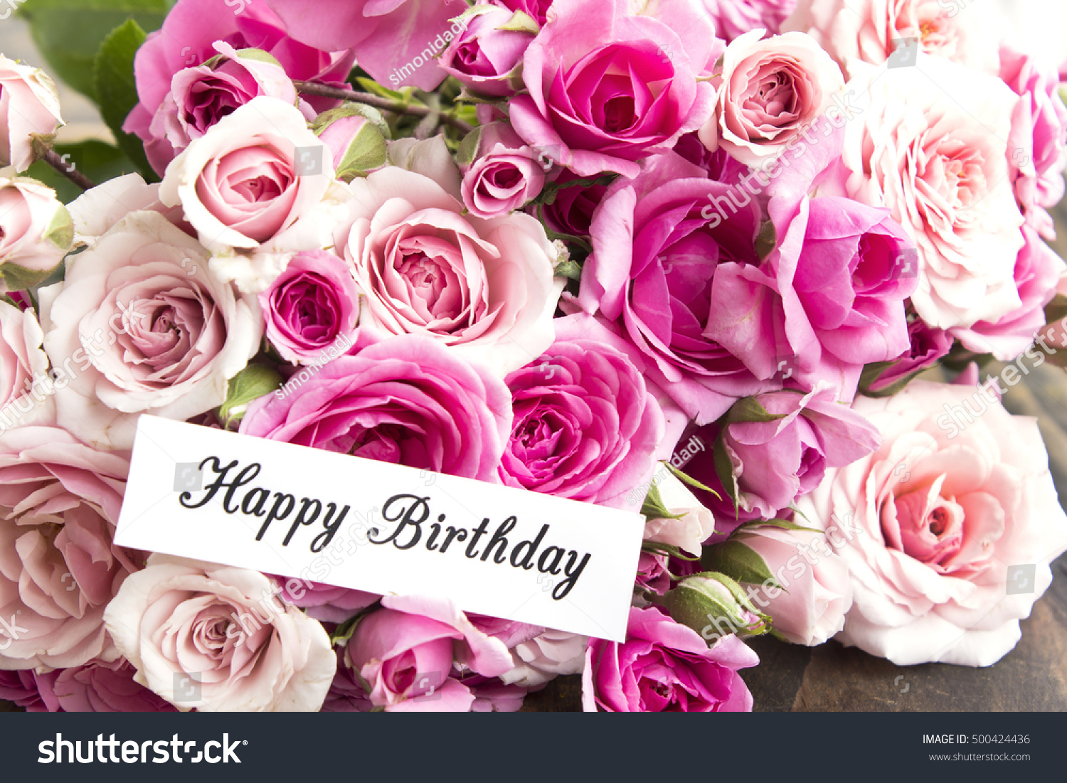 Happy Birthday Card Bouquet Pink Roses Stock Photo (Royalty Free ...