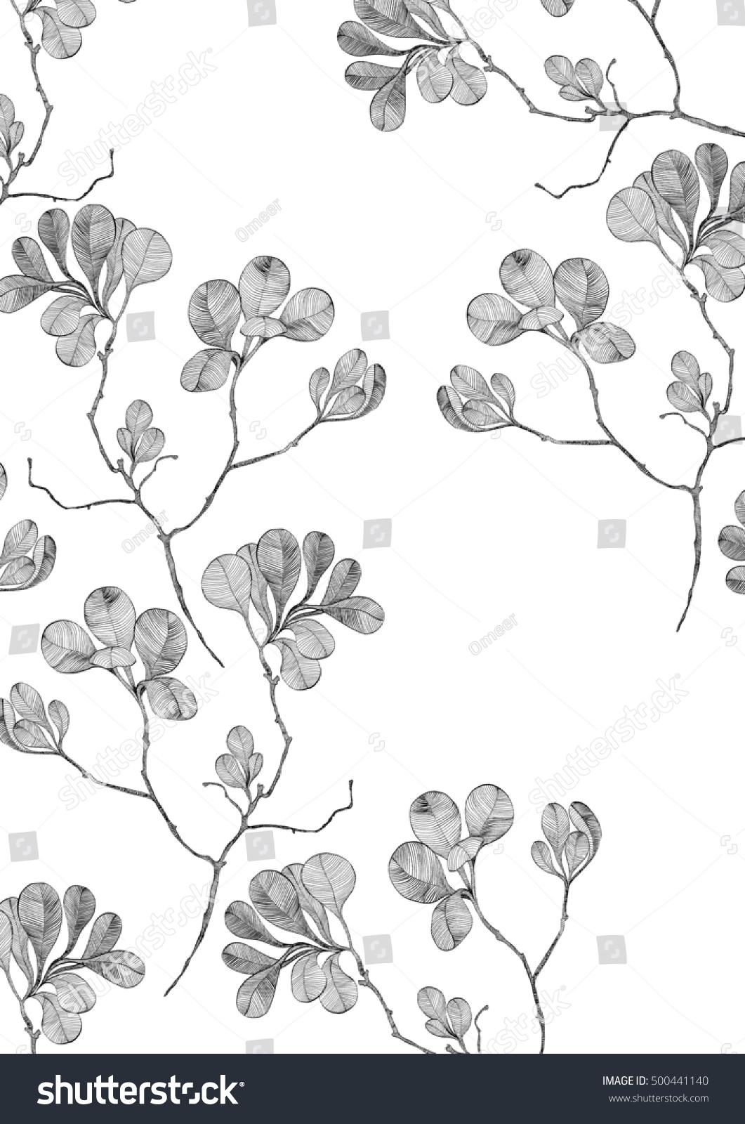 Line Art Flower Background : Vintage flower line art on white stock illustration