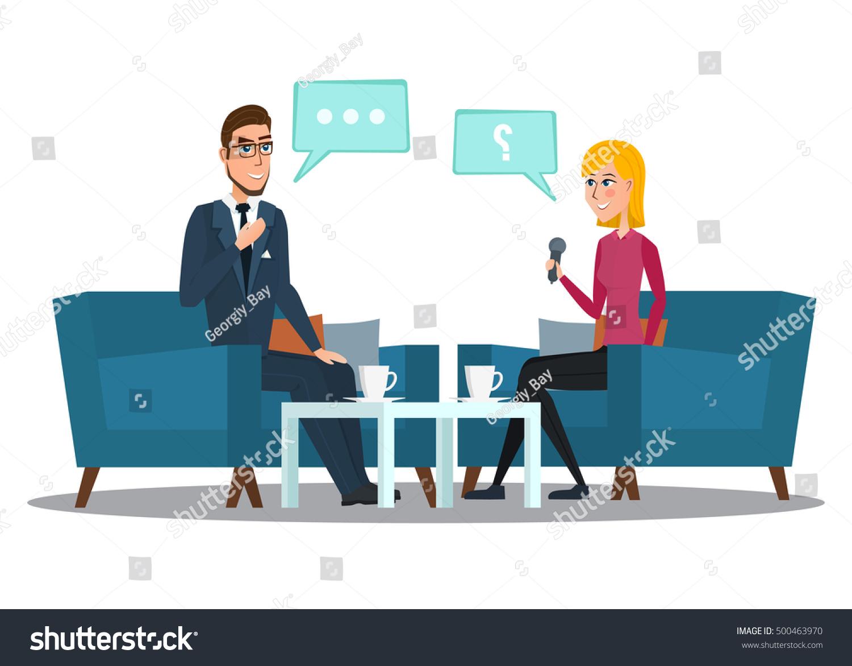 interview movie star interviews politicians vector stock vector interview movie star interviews politicians vector illustration isolated on white background in