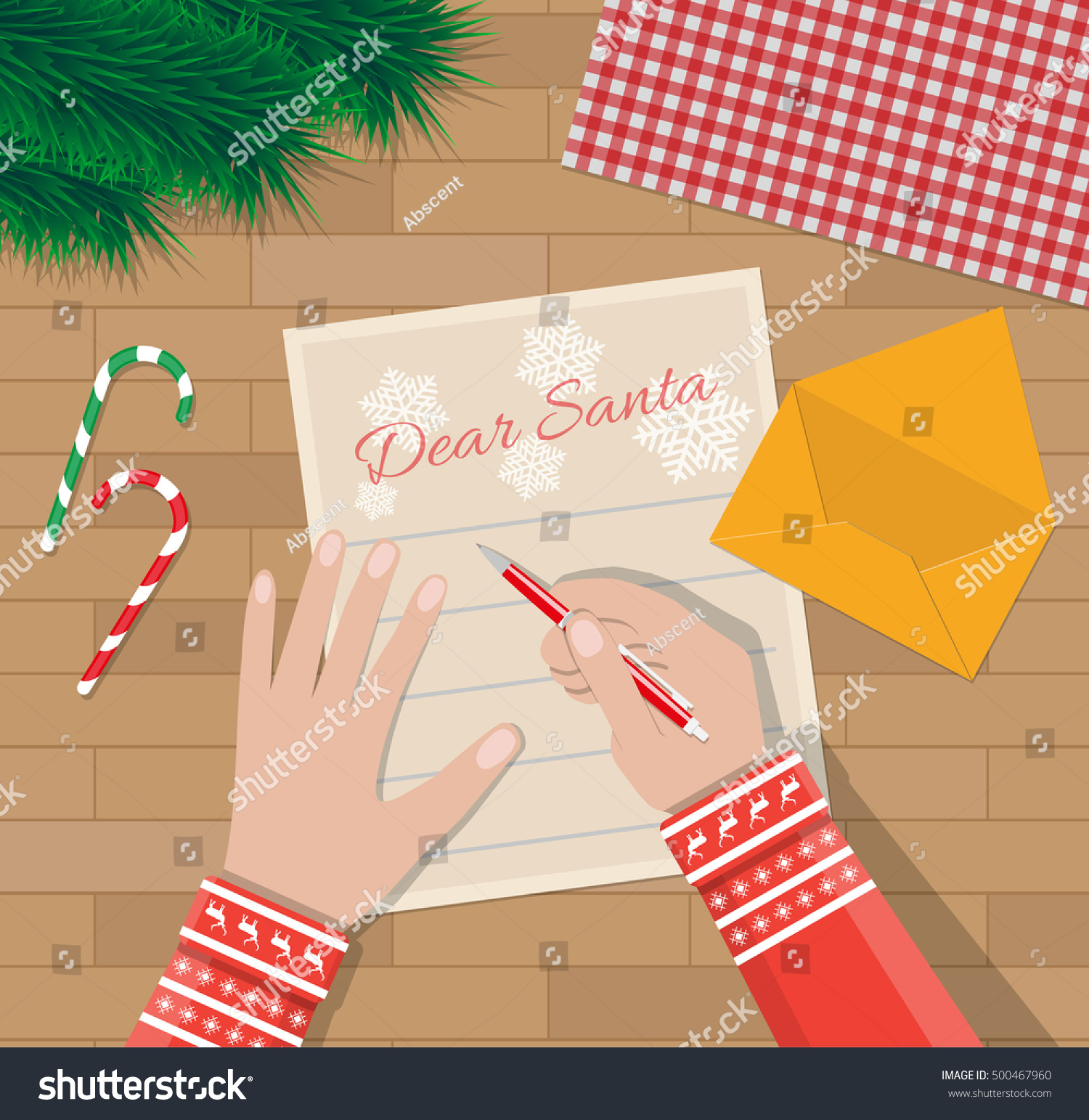 Child Hand Pen Writing Letter Santa Stock Vector Royalty Free